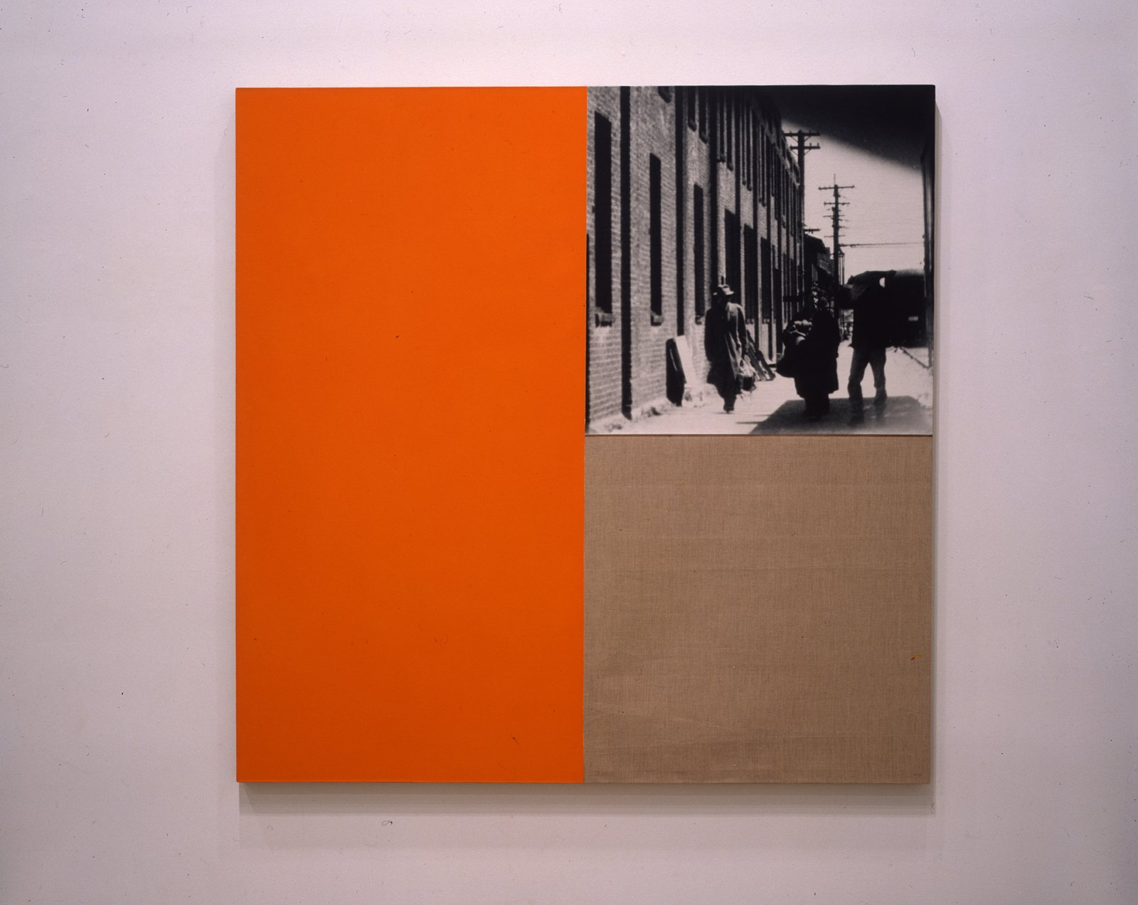 Ian Wallace,Poverty Image with Orange, 1987,photolaminate and acrylic on canvas,60 x 60 in. (152 x 152 cm)