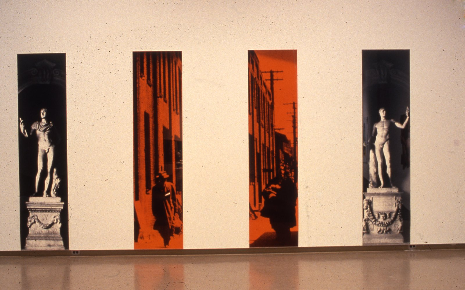 Ian Wallace,The Imperial City, 1986,black and white photomurals with plexiglas,4 panels,each 116 x 24 in. (293 x 61 cm)