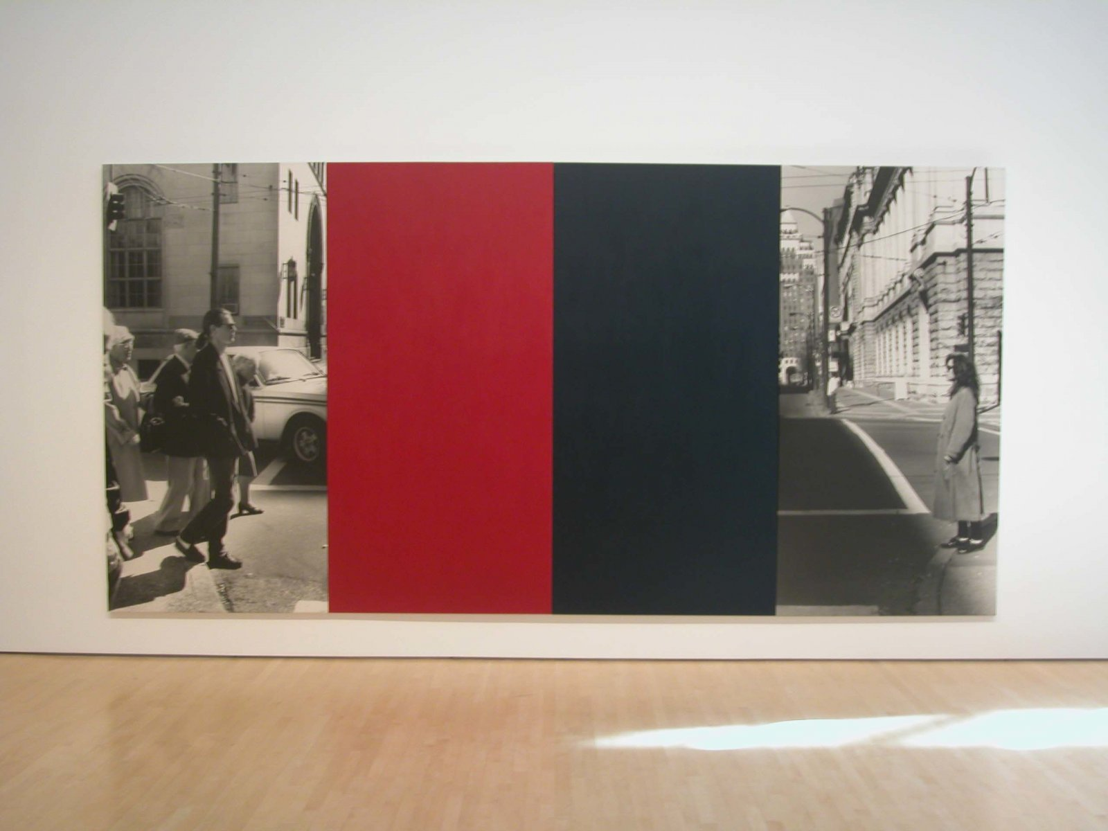 Ian Wallace,At the Crosswalk, 1988, photolaminate and acrylic on canvas,195 x 110 in. (496 × 279 cm)