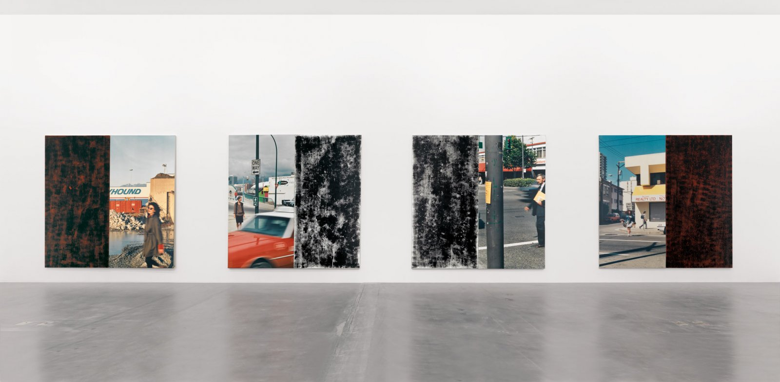 Ian Wallace, In the Street I–IV, 1989, 4 photolaminate with acrylic and ink monoprint on canvas panels, each 96 x 96 in. (244 x 244 cm)
