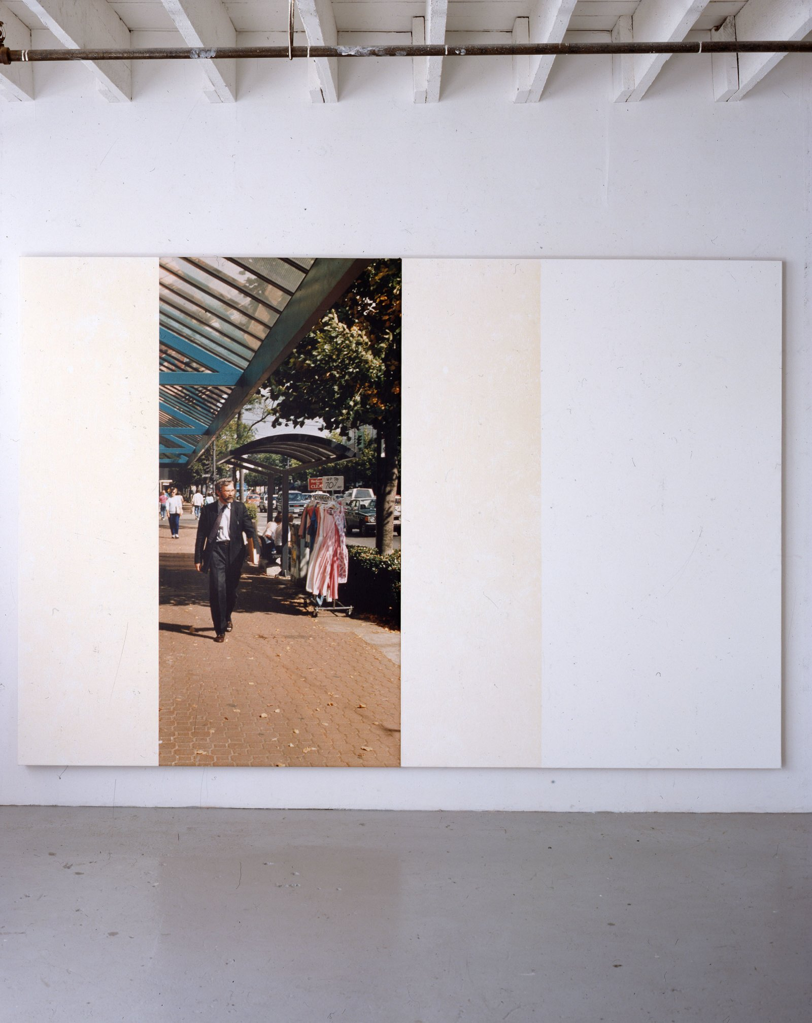 Ian Wallace,In the Street (George), 1988,photolaminate with acrylic and ink monoprint on canvas,96 x 96 in. (244 x 244 cm)