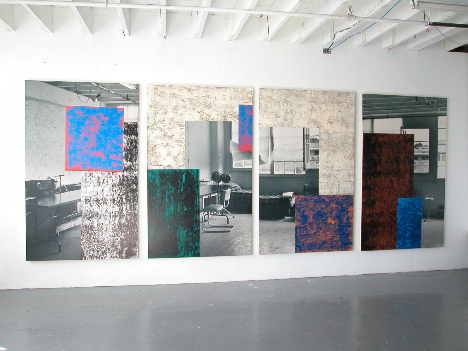 Ian Wallace,Corner of the Studio I–IV, 1993,ink monoprint with photolaminate and acrylic on canvas,each 78 x 78 in. (198 x 198 cm)