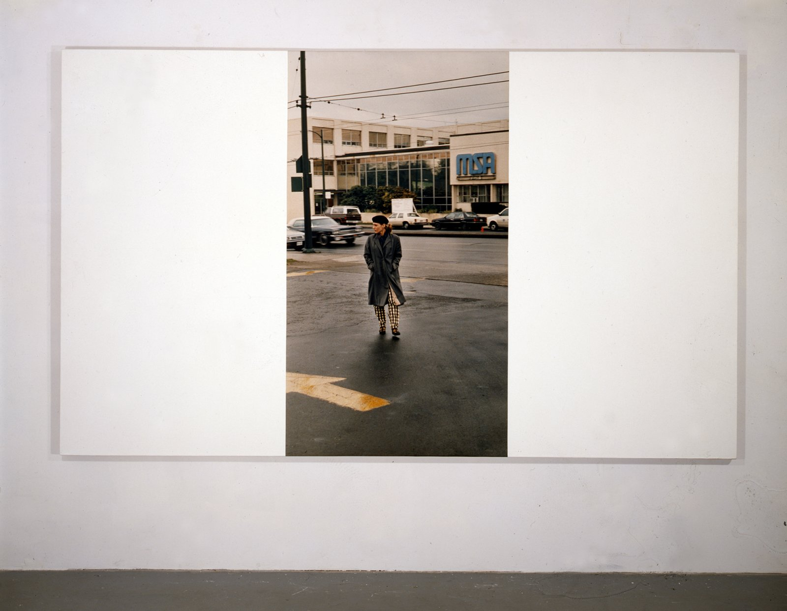 Ian Wallace, My Heroes in the Street V (Wendy), 1986–1989, photolaminate and acrylic on canvas, 72 x 120 in. (183 x 305 cm)