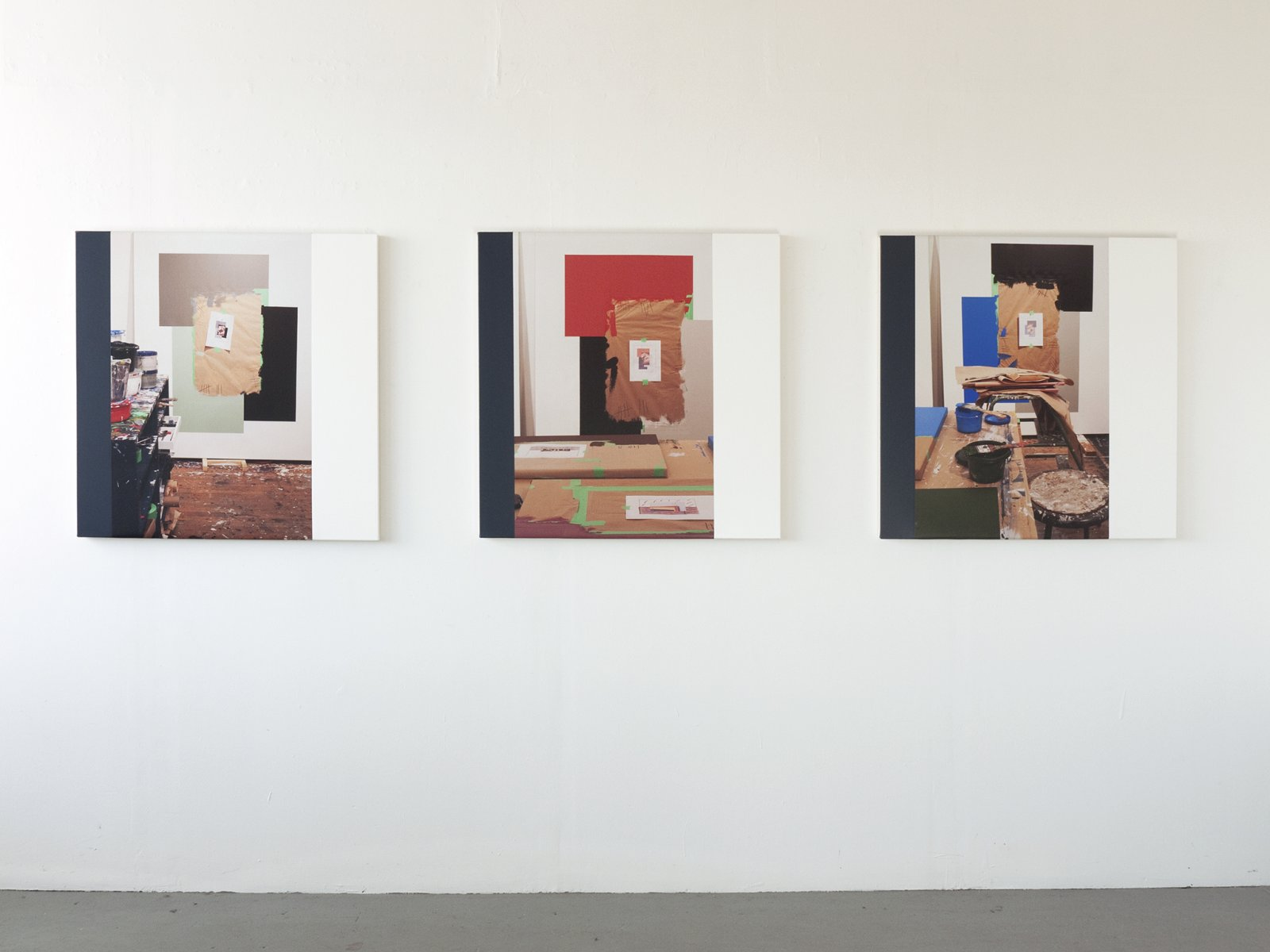 Ian Wallace,Abstract Composition(The Colours I–III),2012, photolaminate with acrylic on canvas, each 36 x 36 in. (91 x 91 cm)