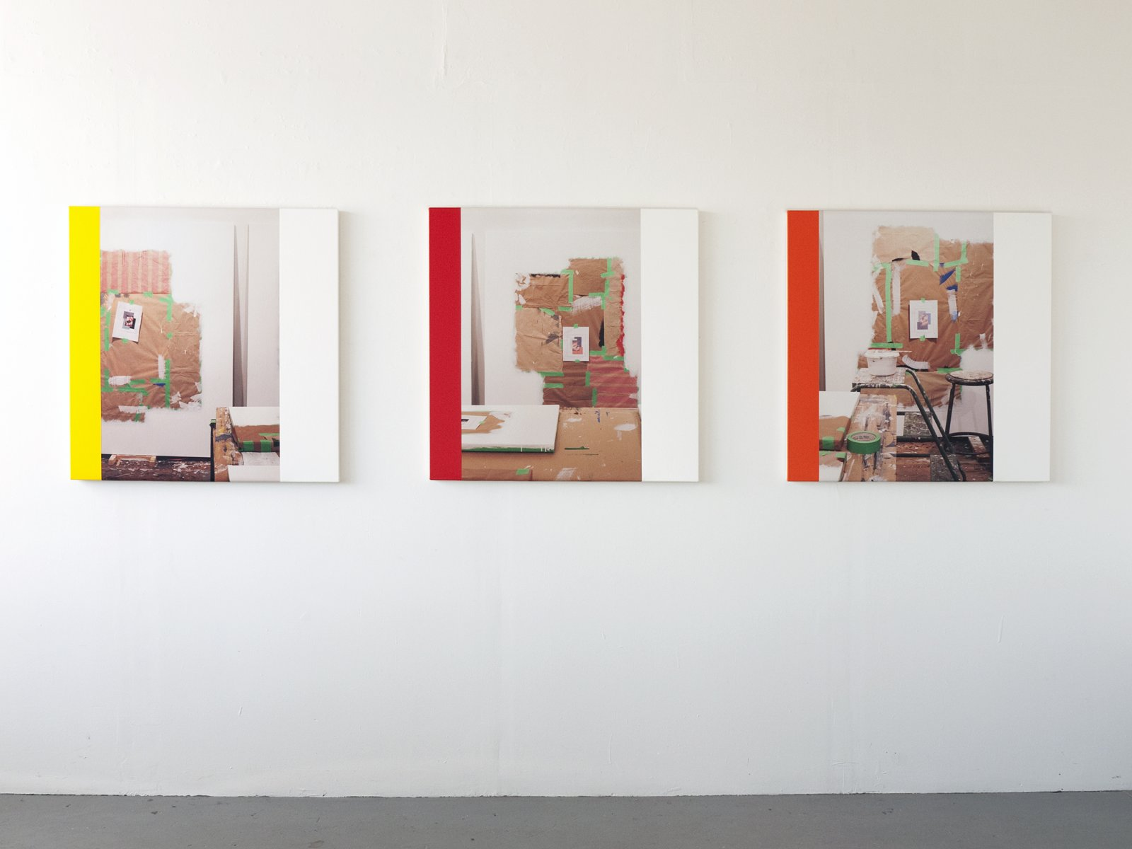 Ian Wallace,Abstract Composition (The Whites I–III),2012, photolaminate with acrylic on canvas, each 36 x 36 in. (91 x 91 cm)