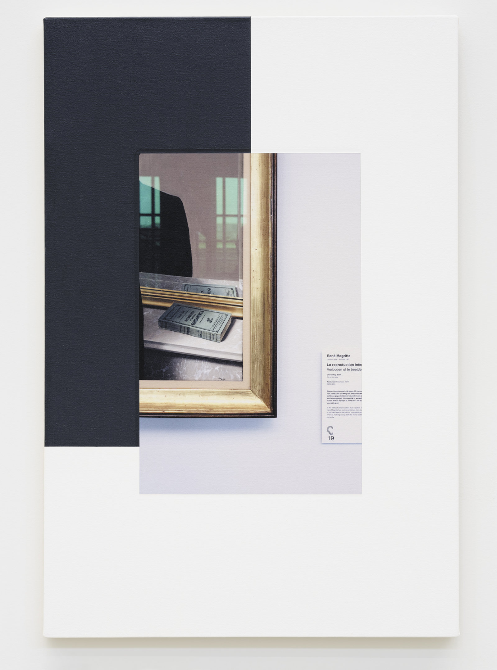 Ian Wallace, Abstract Composition (with Magritte), 2011, photolaminate with acrylic on canvas, 36 x 24 in. (91 x 61 cm) by Ian Wallace