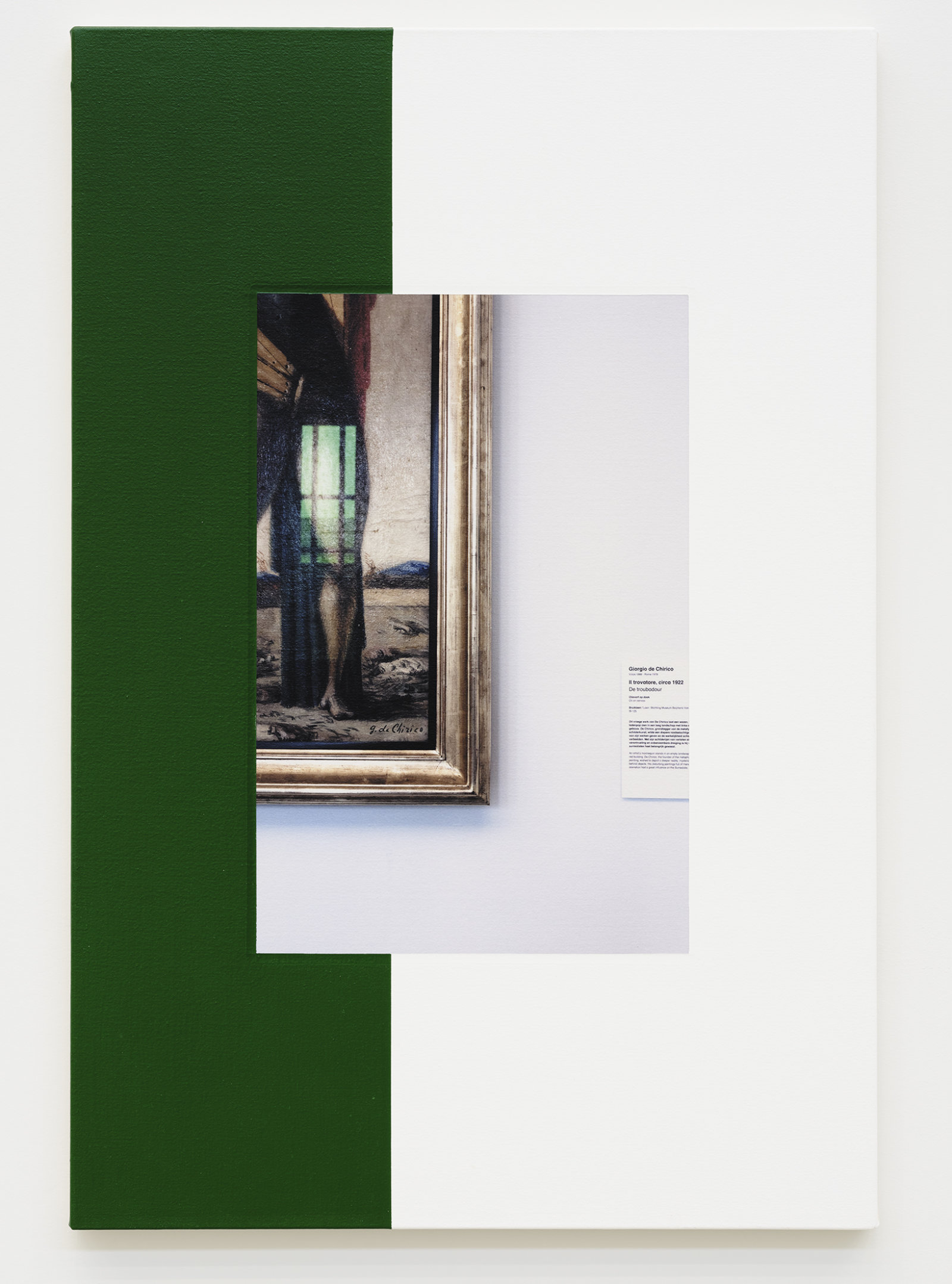 Ian Wallace, Abstract Composition (with de Chirico), 2011, photolaminate with acrylic on canvas, 36 x 24 in. (91 x 61 cm) by Ian Wallace