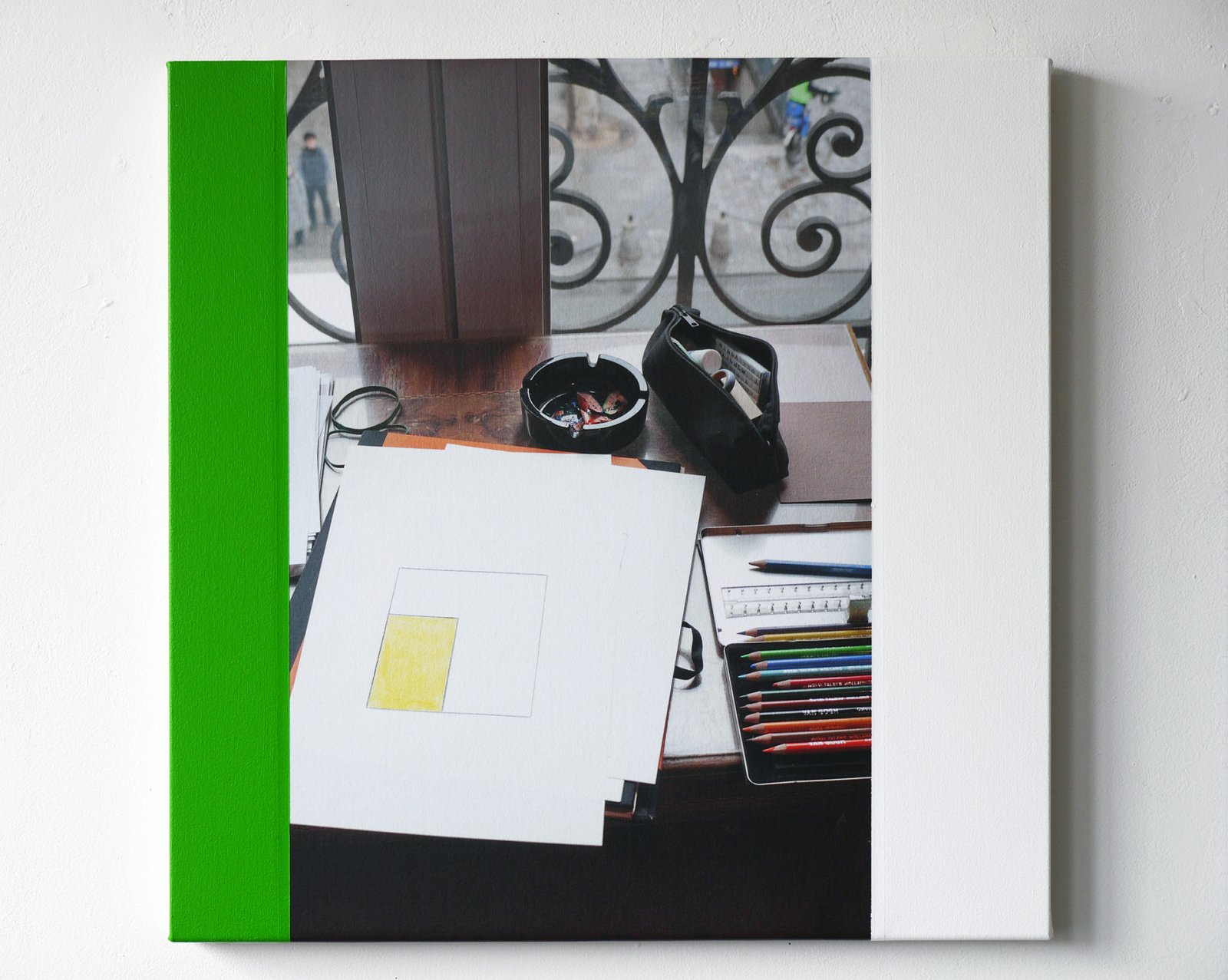 Ian Wallace,Abstract Drawing (Hotel de Nice, Paris, February 2, 2010, III), 2010,photolaminate with acrylic on canvas,48 x 36 in. (122 x 91 cm)
