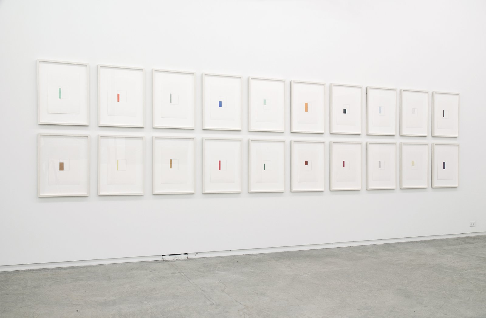 Ian Wallace, Abstract Drawings (Valencia, March 27–29 2004) 1–XX, 2004, 20 coloured pencil on paper drawings, each 17 x 12 in. (42 x 31 cm) by Ian Wallace