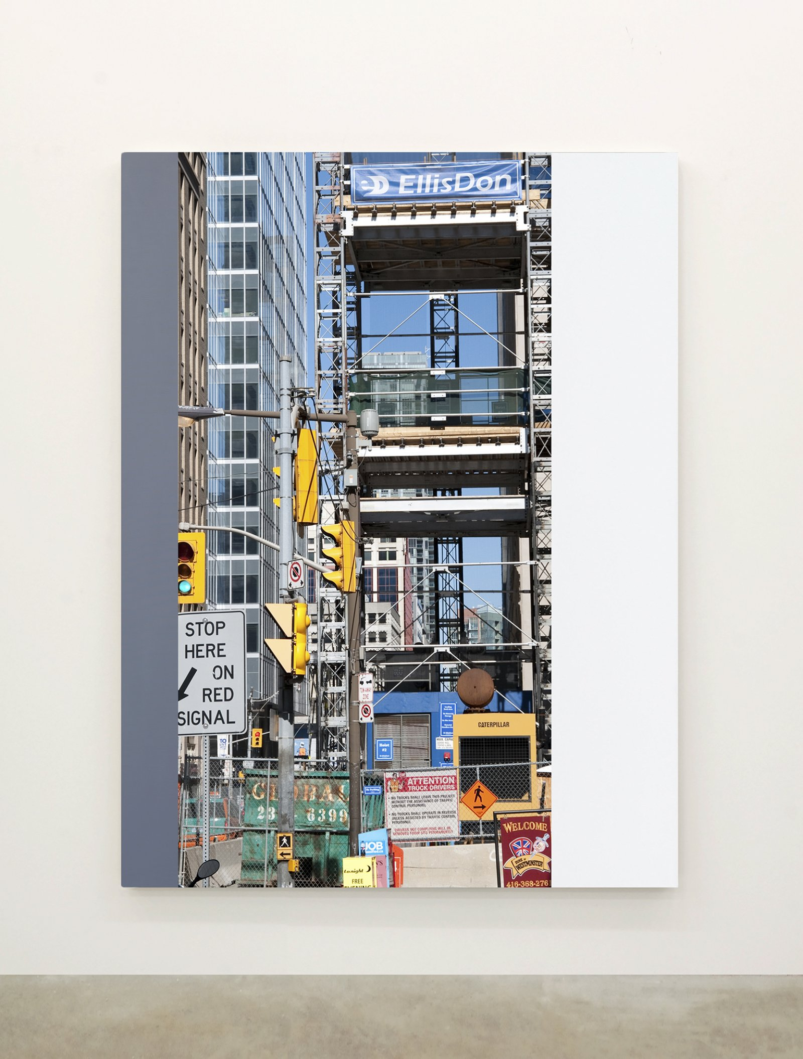 Ian Wallace,Abstract Painting II(The Financial District), 2010,12 photolaminate with acrylic on canvas panels, each 96 x 72 in. (244 x 183 cm)