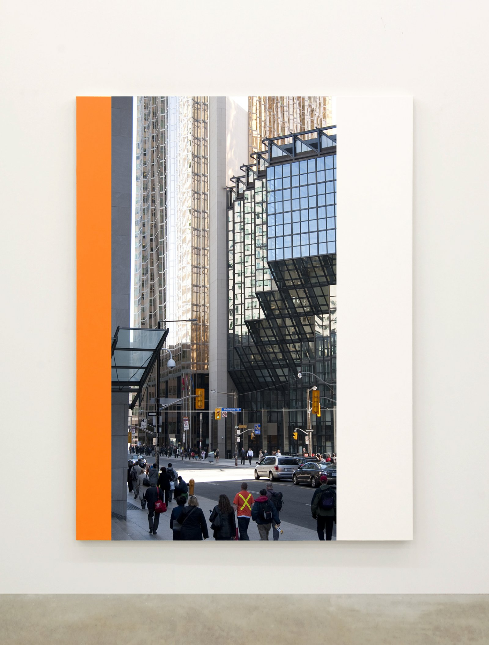 Ian Wallace,Abstract Painting XI(The Financial District), 2010,12 photolaminate with acrylic on canvas panels, each 96 x 72 in. (244 x 183 cm)