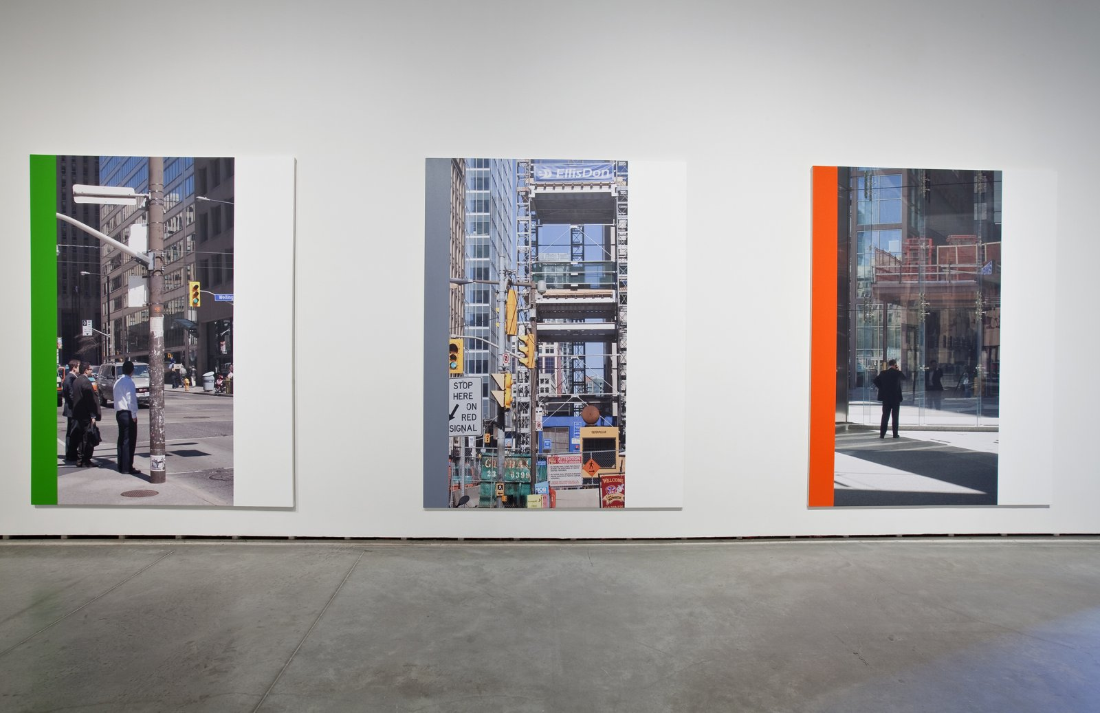 Ian Wallace, Abstract Paintings I–XII (The Financial District), 2010, 12 photolaminate with acrylic on canvas panels, each 96 x 72 in. (244 x 183 cm). Installation view, The Economy of the Image, The Power Plant, Toronto, 2010 by Ian Wallace