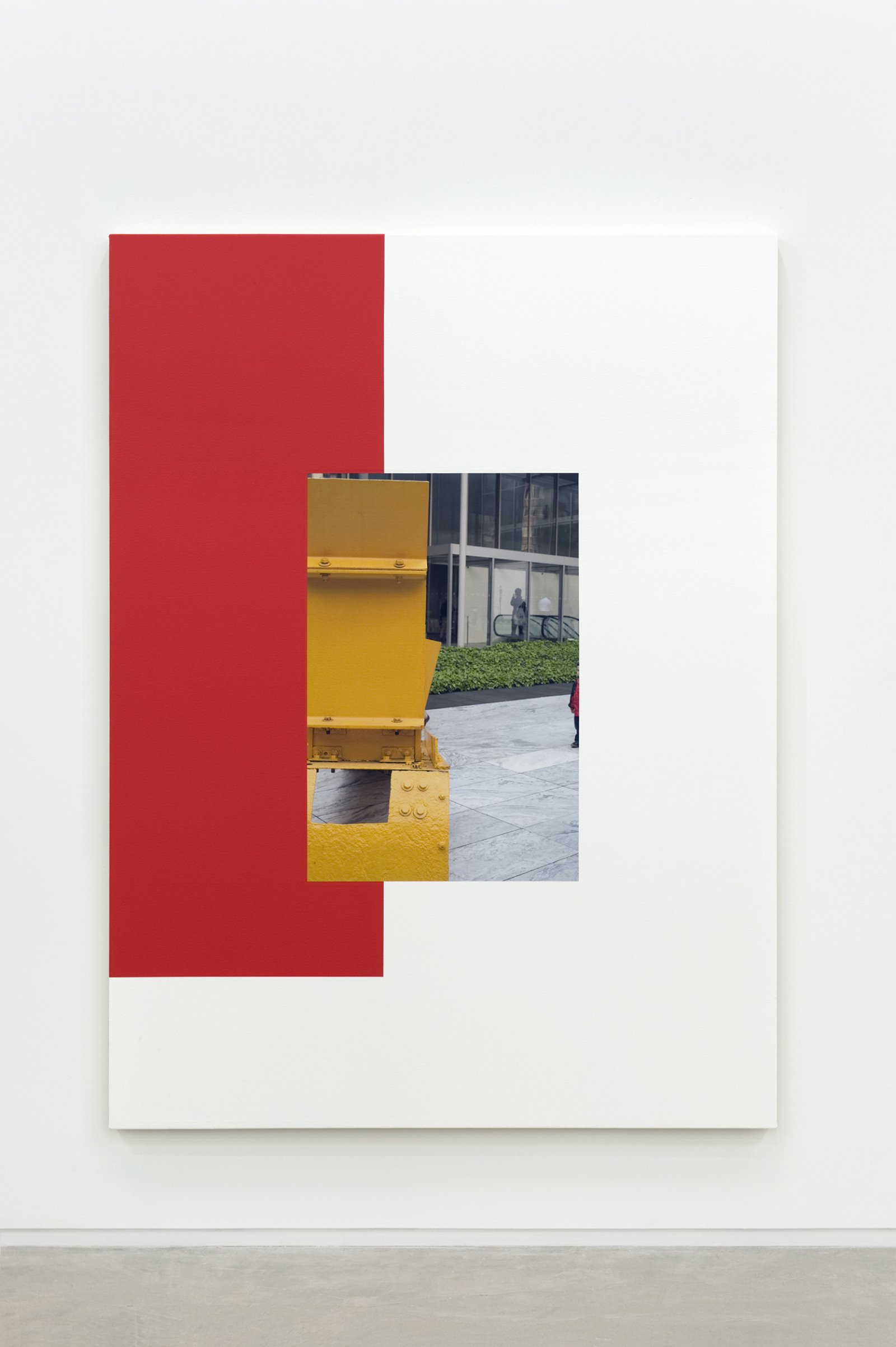 Ian Wallace,Abstract Sculpture (Red on White), 2011, photolaminate and acrylic on canvas, 80 x 60 in. (203 x 152 cm)