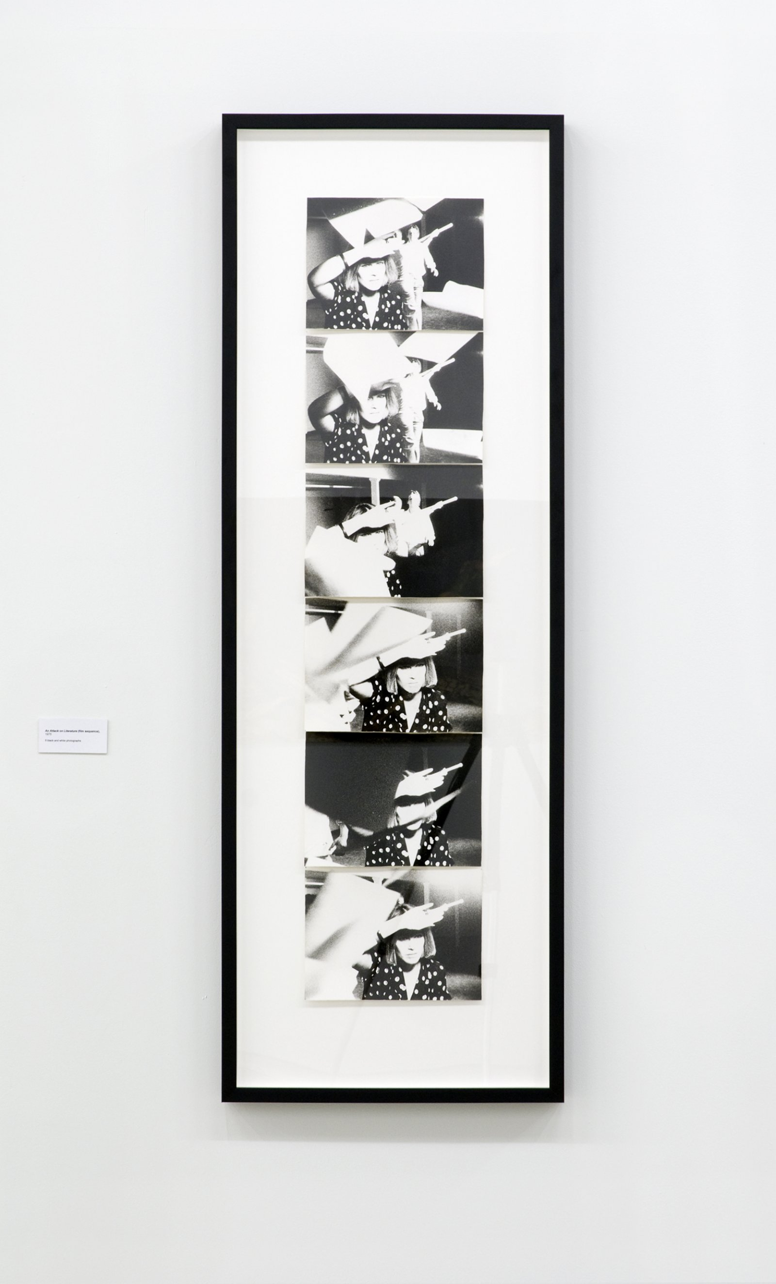 Ian Wallace, An Attack on Literature (film sequence), 1975, 6 black and white photographs, each 8 x 10 in. (19 x 25 cm)  by Ian Wallace