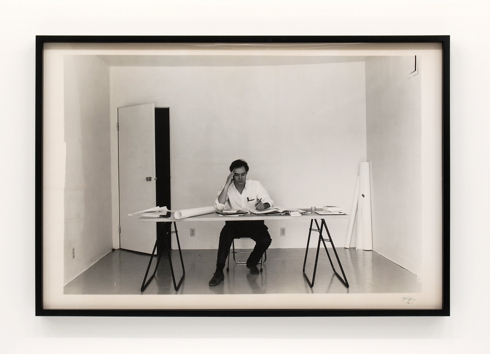 Ian Wallace, At Work 1983, 1983, black and white photograph on RC paper, 42 x 62 in. (107 x 157 cm) by Ian Wallace