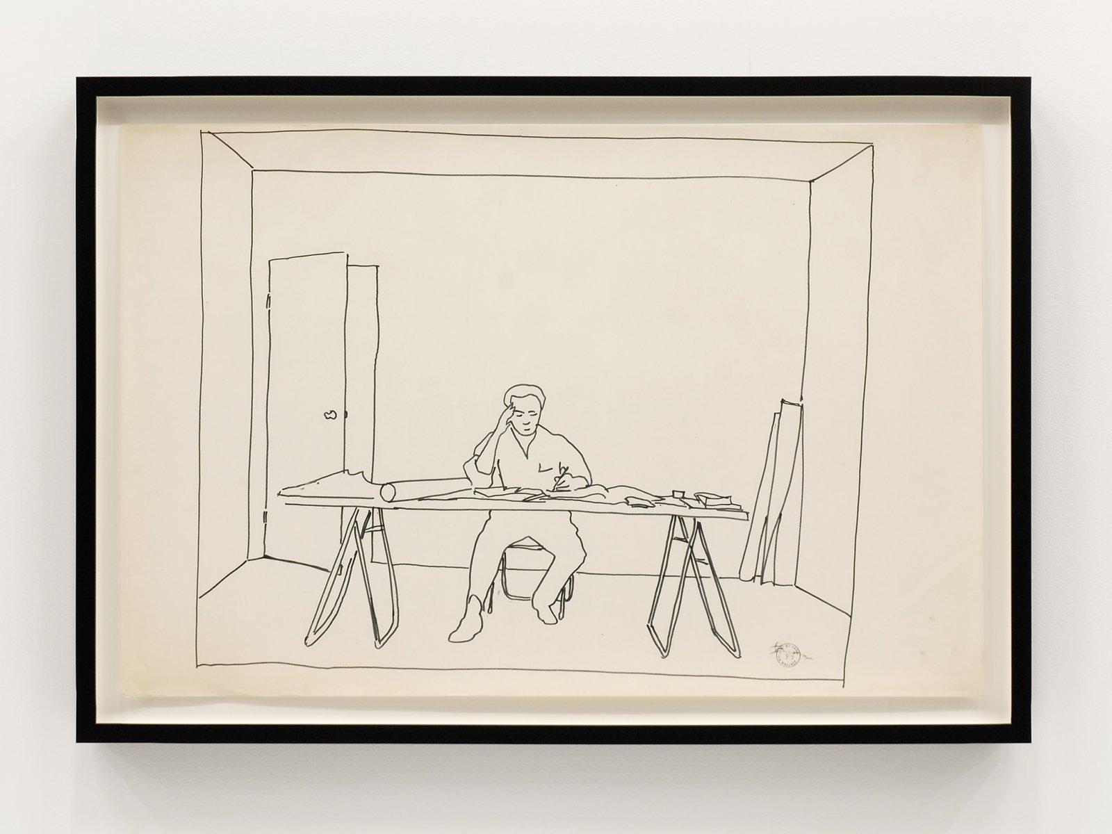 Ian Wallace, At Work 1983, 1983, felt pen on mylar, 22 x 34 in. (56 x 86 cm) by Ian Wallace
