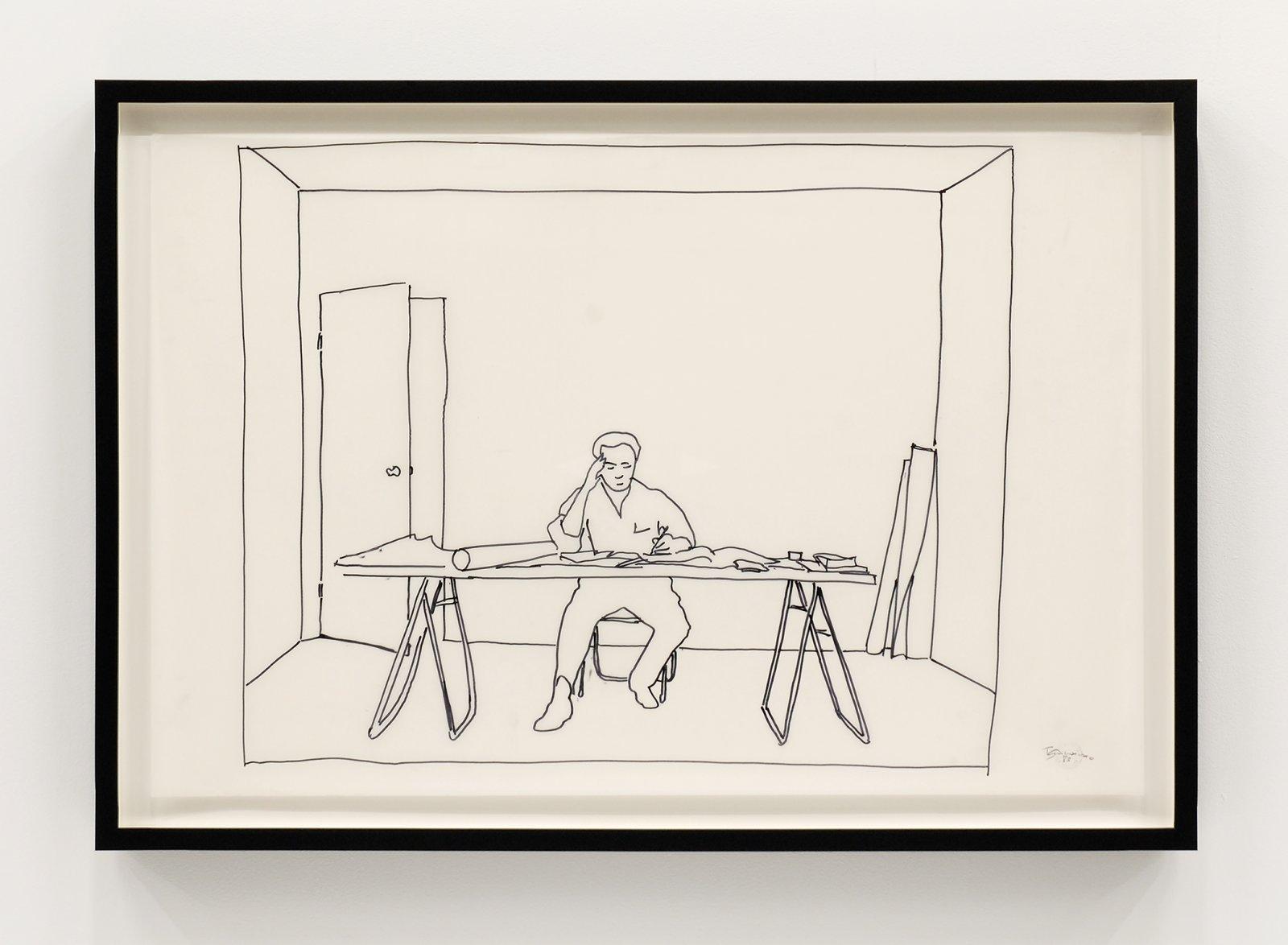 Ian Wallace, At Work 1983, 1983, dyazoprint from felt pen on mylar, 22 x 34 in. (56 x 86 cm) by Ian Wallace