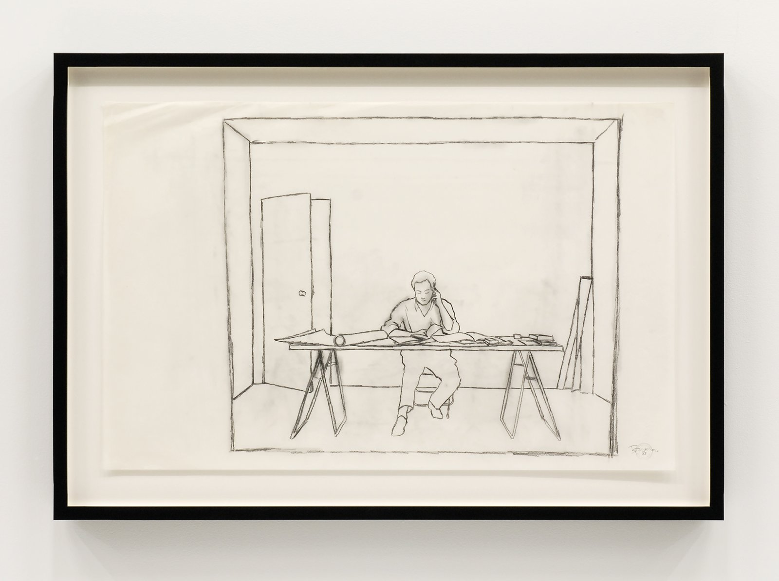 Ian Wallace, At Work 1983, 1983, pencil on mylar, 22 x 34 in. (56 x 86 cm) by Ian Wallace