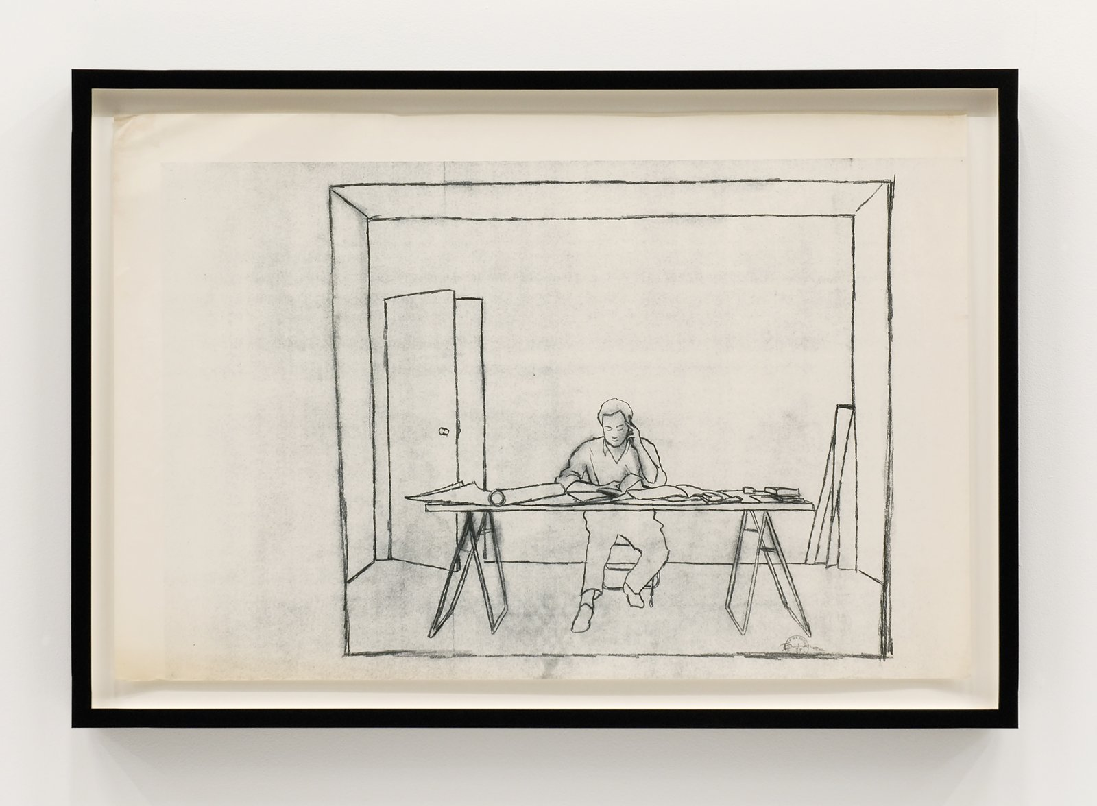 Ian Wallace, At Work 1983, 1983, dyazoprint from graphite on paper drawing, 22 x 34 in. (56 x 86 cm) by Ian Wallace