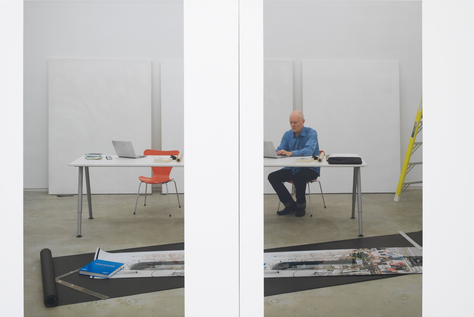 Ian Wallace, At Work 2008, 2008, photolaminate with acrylic on canvas, 80 x 120 in. (203 x 305 cm). Installation view, A Literature of Images, Kunsthalle Zürich, 2008 by Ian Wallace