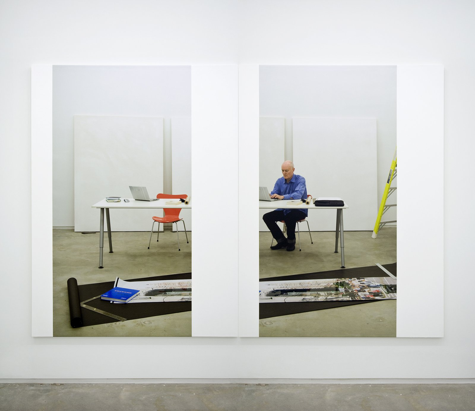 Ian Wallace,At Work 2008, 2008, photolaminate with acrylic on canvas diptych panels, 80 x 120 in. (203 x 305 cm)