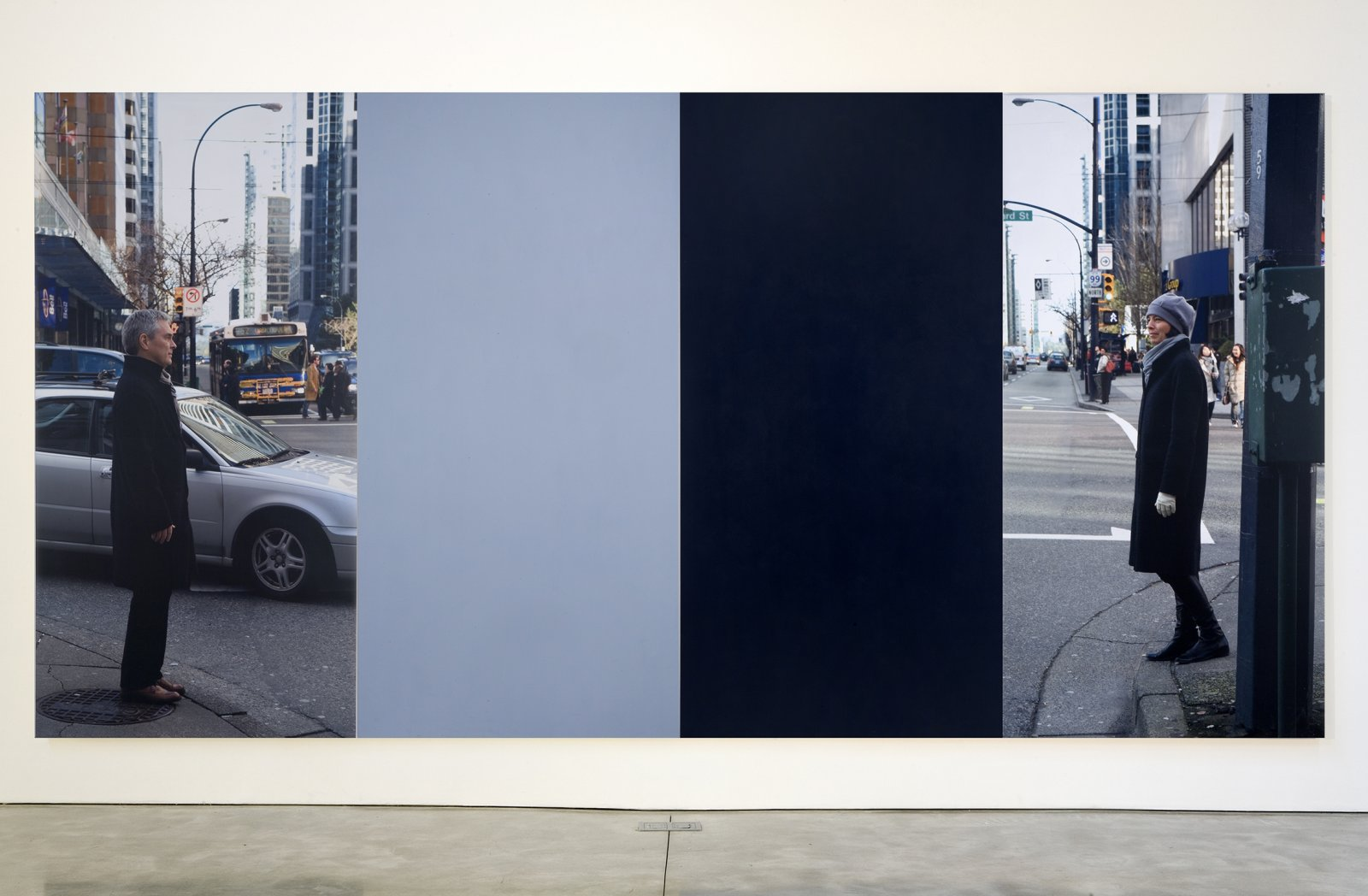Ian Wallace,At the Crosswalk III, 2007,photolaminate and acrylic on canvas,96 x 193 in. (244 x 488 cm)