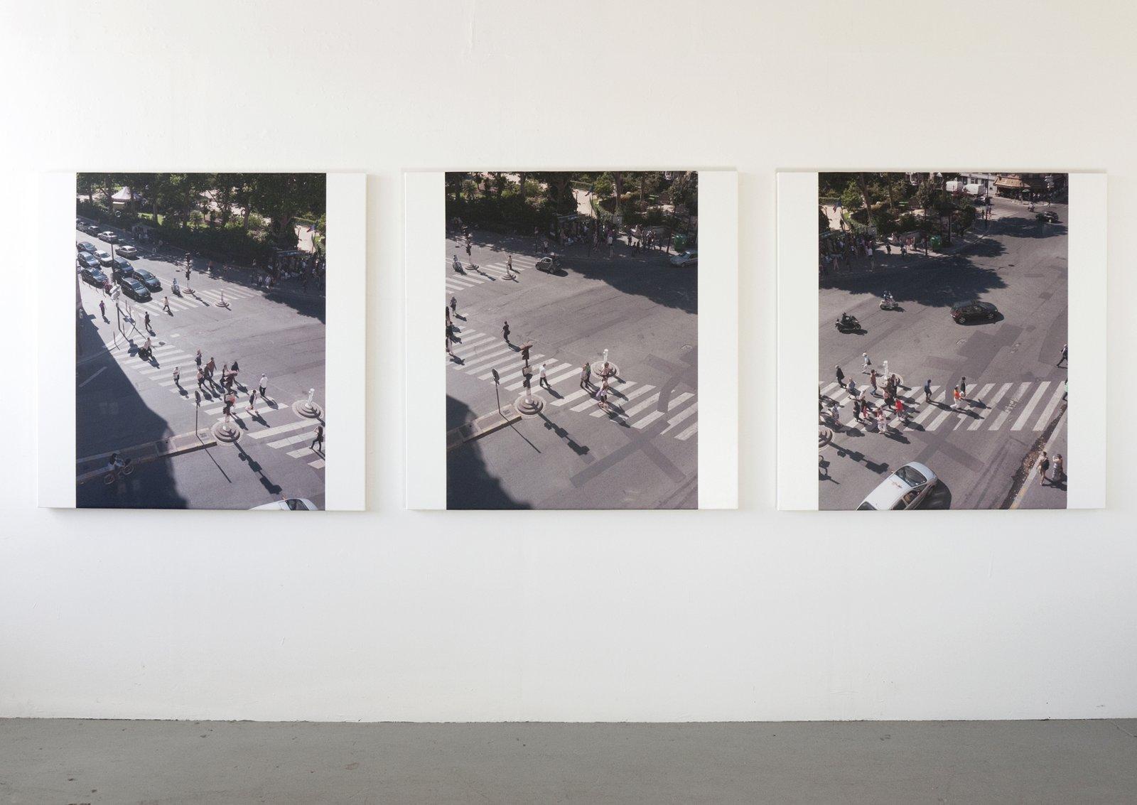 Ian Wallace,Boulevard Raspail I–III, 2012, photolaminate with acrylic on canvas, each 48 x 48 in. (122 x 122 cm)