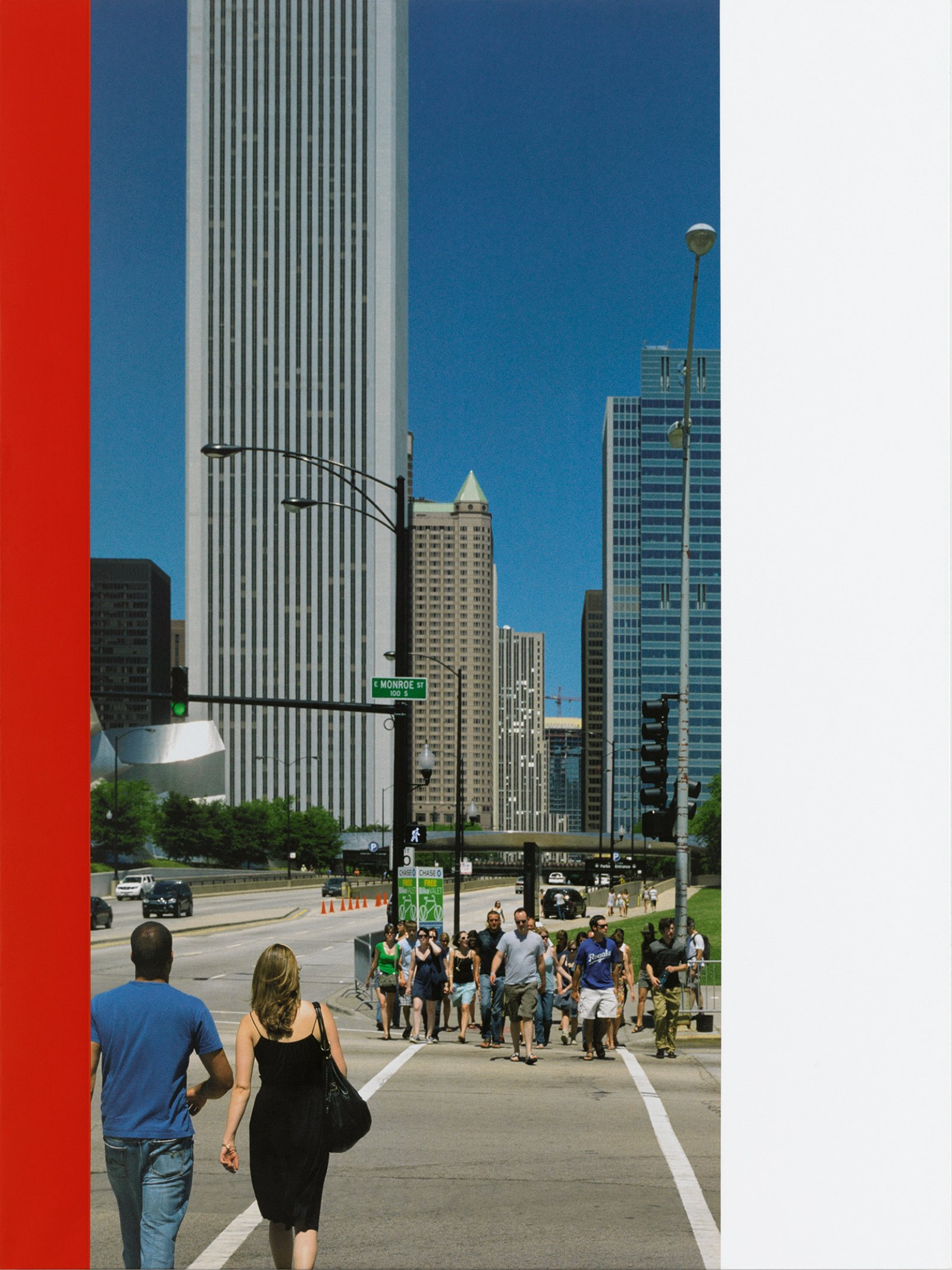Ian Wallace, Chicago Crosswalk, 2007, photolaminate with acrylic on canvas, 96 x 72 in. (244 x 183 cm). Installation view, A Literature of Images, Kunsthalle Zürich, 2008 by Ian Wallace