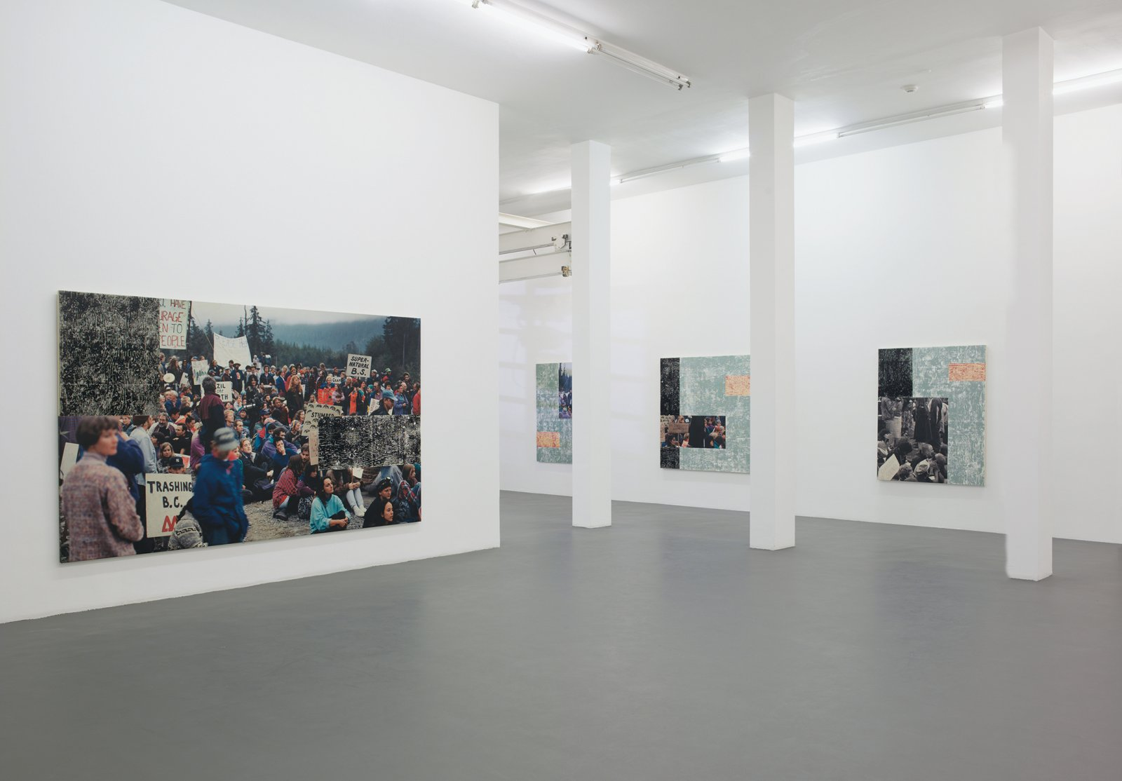 ​​​Ian Wallace, Clayoquot Protest (August 9, 1993) I–IX, 1993–1995, photolaminate with acrylic on canvas, dimensions variable. Installation view, A Literature of Images, Witte de With, Rotterdam, 2008​​​ by Ian Wallace