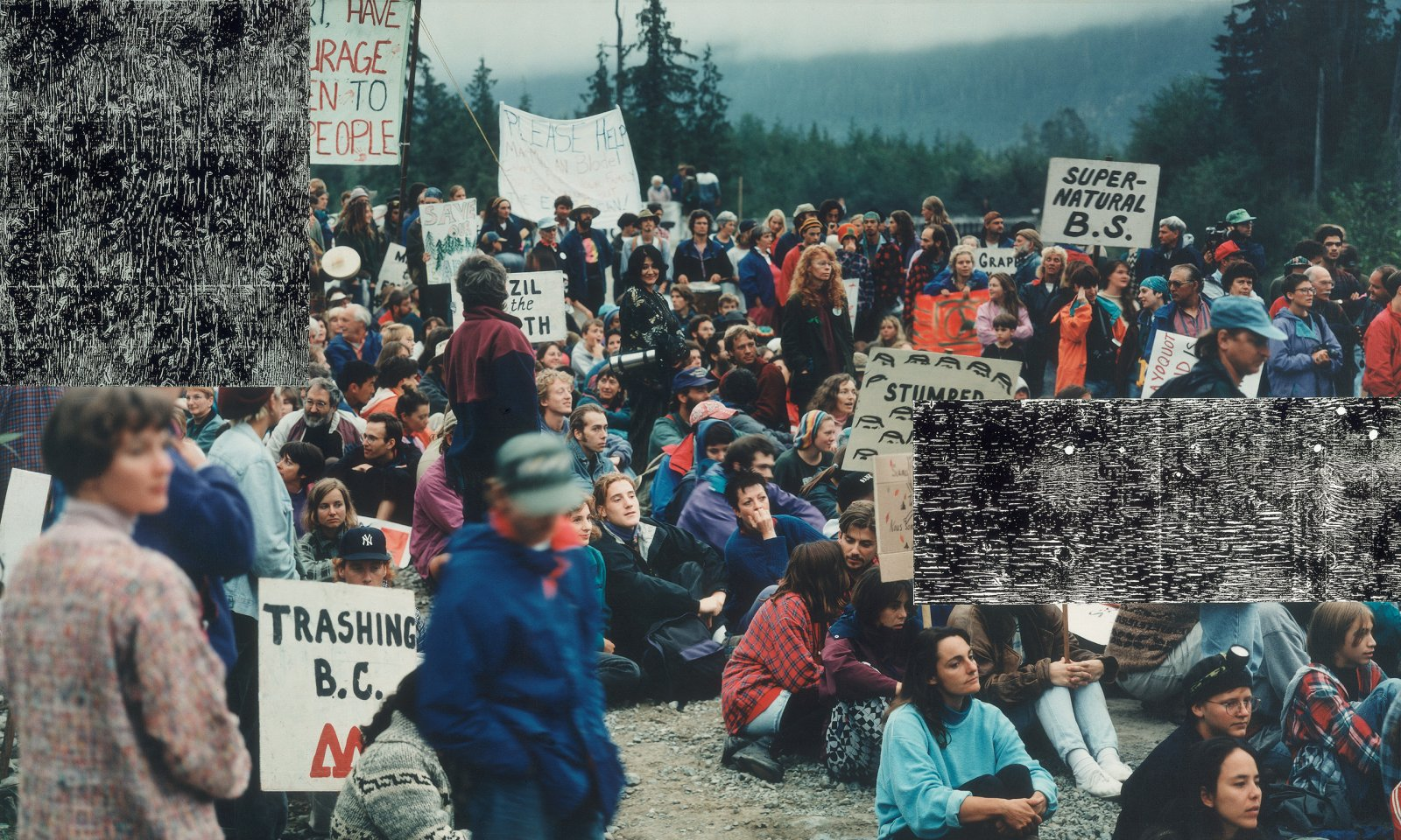 Ian Wallace, Clayoquot Protest (August 9, 1993) II, 1993–1995, photolaminate with acrylic on canvas, 48 x 60 x 1 in. (122 x 152 x 3 cm) by Ian Wallace