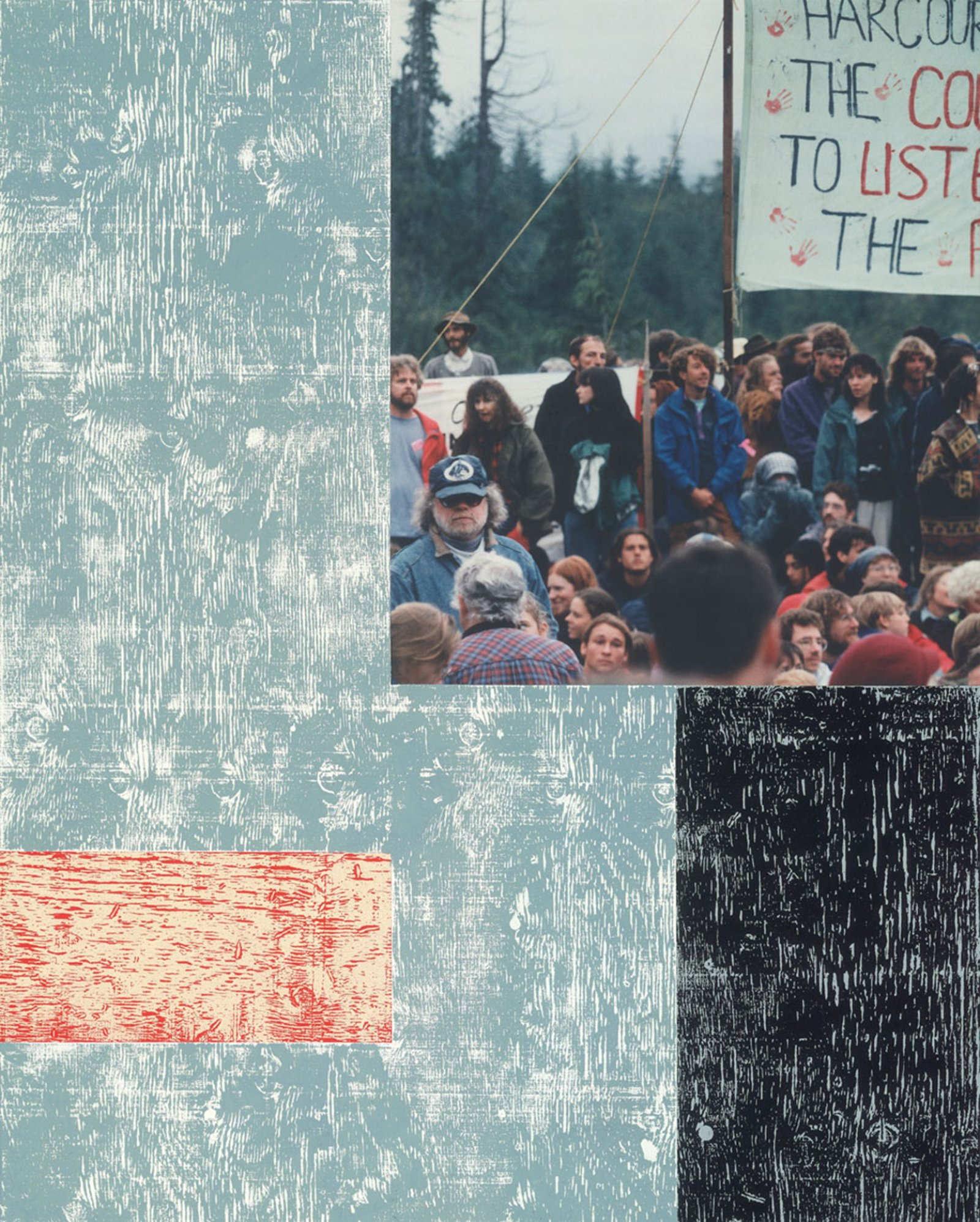 Ian Wallace, Clayoquot Protest (August 9, 1993) I, 1993–1995, photolaminate with acrylic on canvas, 120 x 72 x 1 in. (305 x 184 x 3 cm) by Ian Wallace