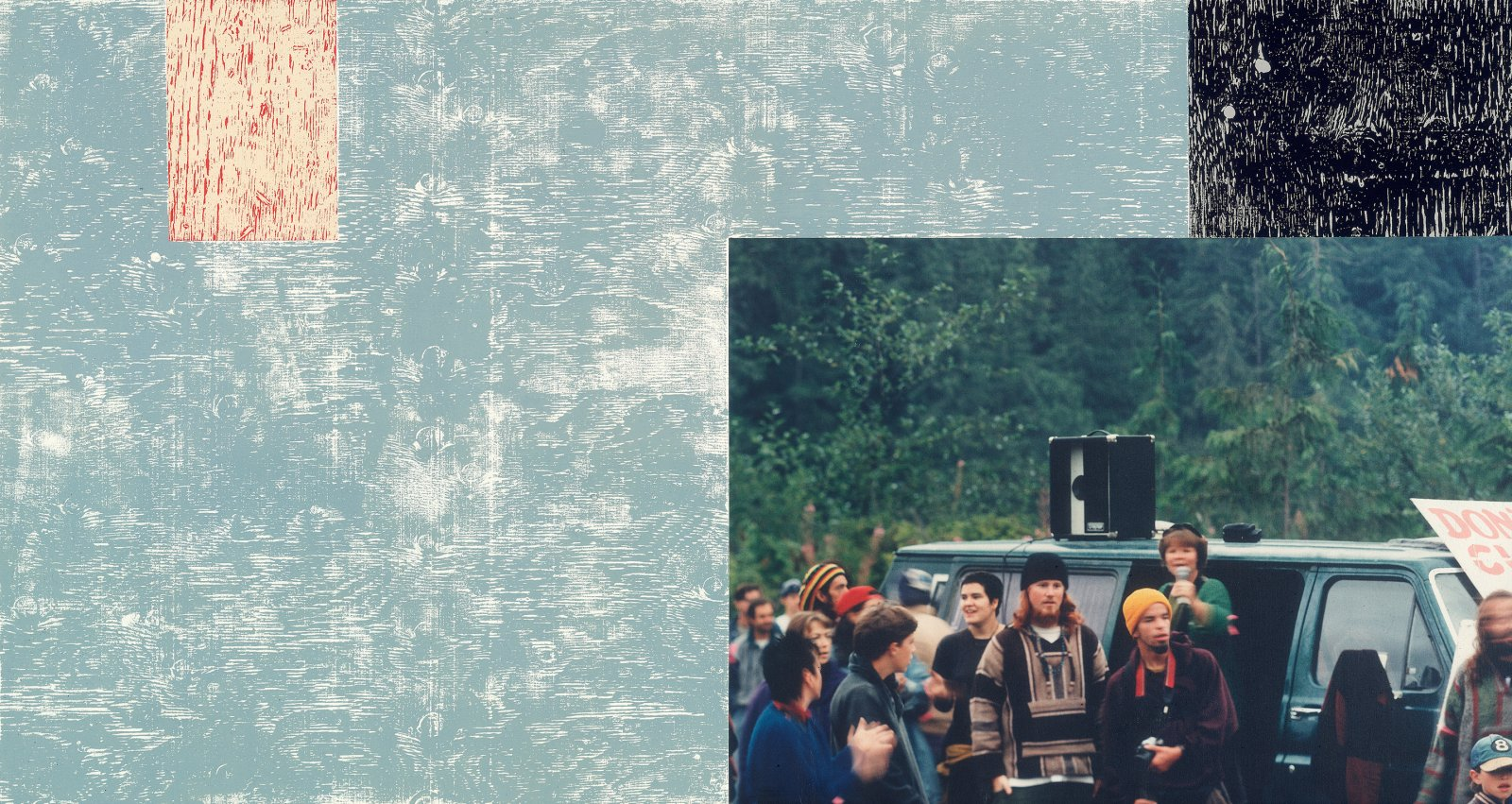 ​Ian Wallace, Clayoquot Protest (August 9, 1993) VI, 1993–1995, photolaminate with acrylic on canvas, 48 x 90 x 1 in. (123 x 229 x 4 cm)​ by Ian Wallace
