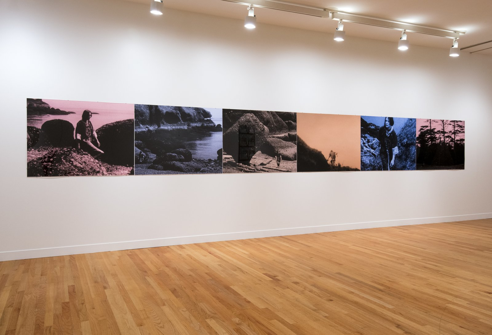 Ian Wallace, Colours of the Afternoon, 1978–1979, 6 hand-coloured silver gelatin prints, 36 x 287 in. (92 x 730 cm). Installation view, A Literature of Images, Vancouver Art Gallery, 2012 by Ian Wallace