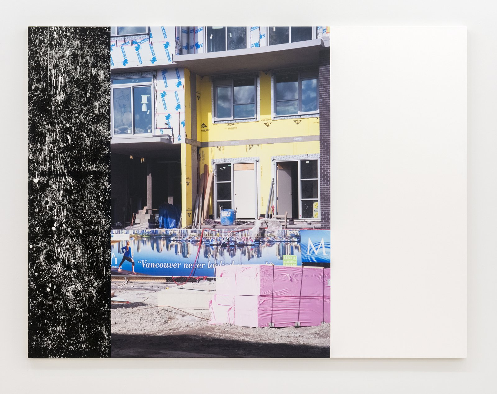 Ian Wallace, Construction Site (Olympic Village) I, 2011, photolaminate and acrylic on canvas, 72 x 96 in. (183 x 244 cm) by Ian Wallace