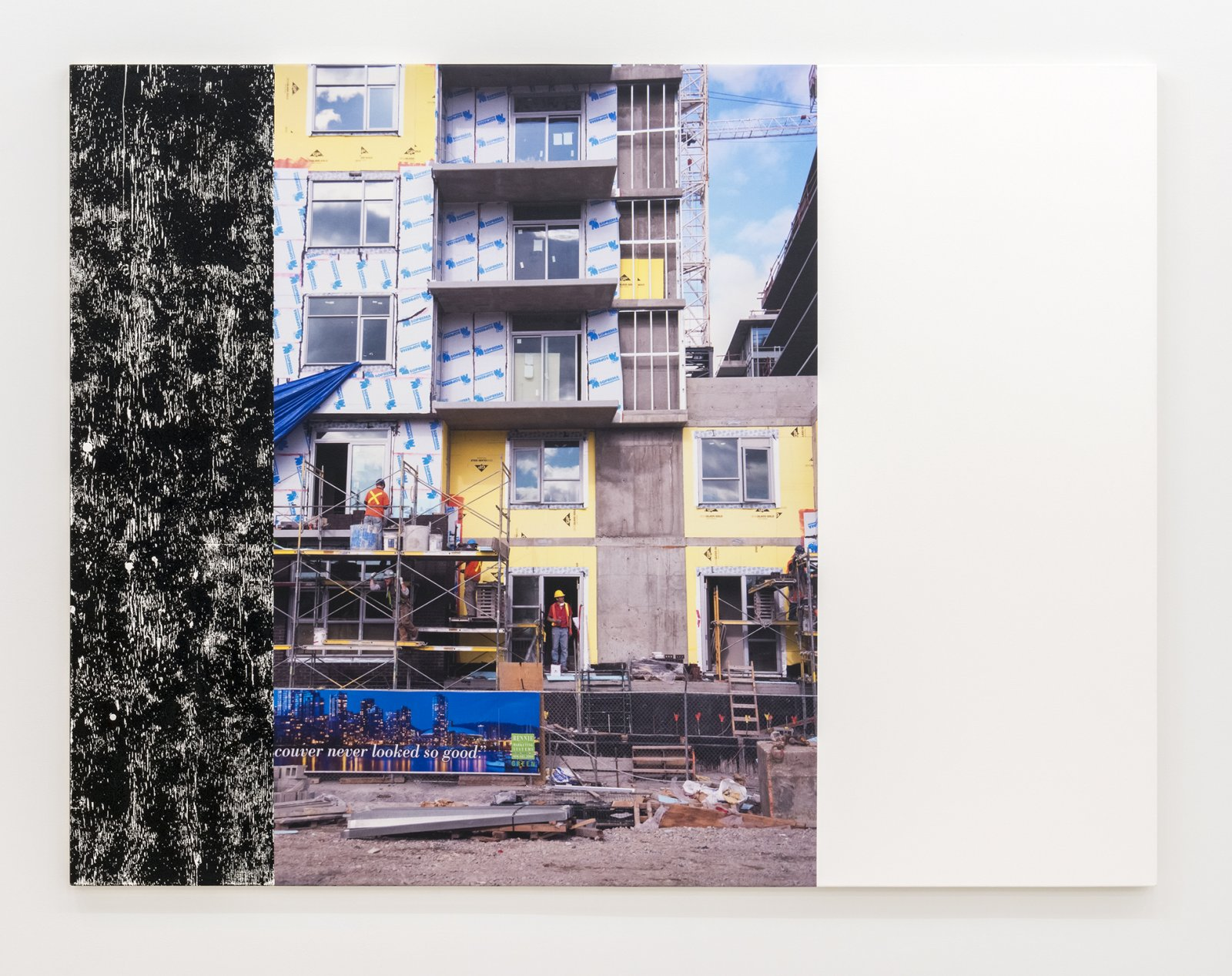 Ian Wallace, Construction Site (Olympic Village) III, 2011, photolaminate and acrylic on canvas, 72 x 96 in. (183 x 244 cm) by Ian Wallace