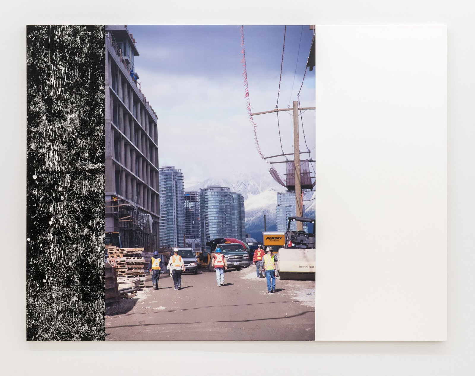 Ian Wallace, Construction Site (Olympic Village) IV, 2011, photolaminate and acrylic on canvas, 72 x 96 in. (183 x 244 cm) by Ian Wallace