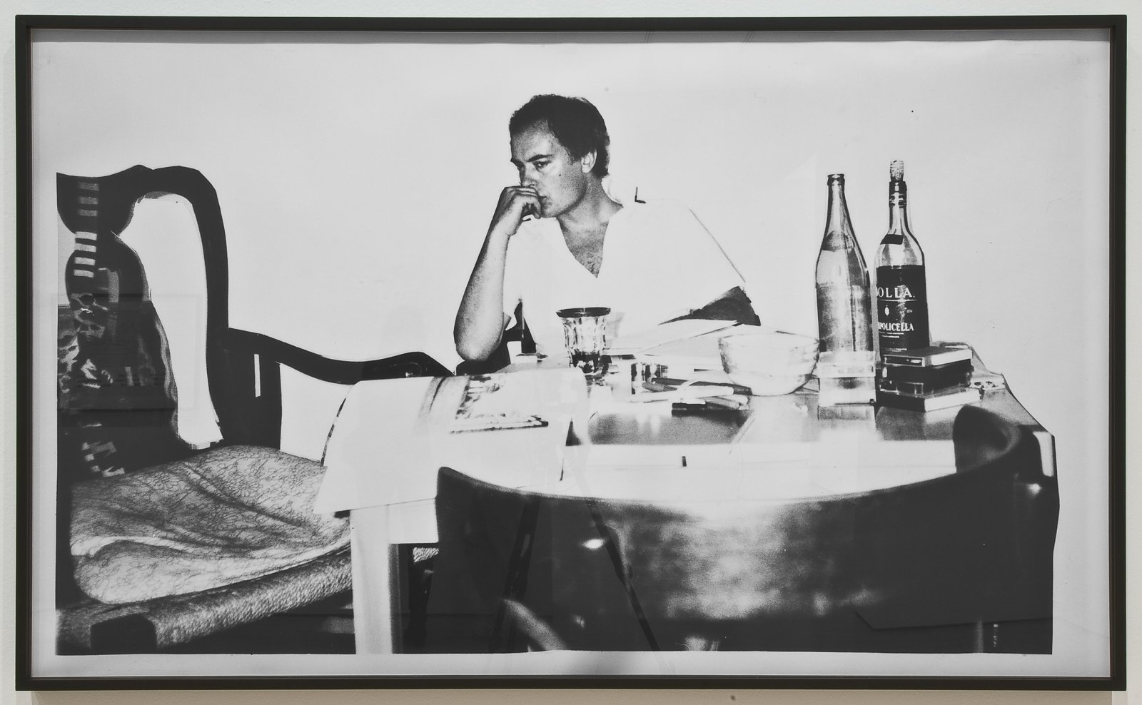 Ian Wallace, Critic at Work, 1983, black and white photograph, 42 x 72 in. (107 x 183 cm) by Ian Wallace