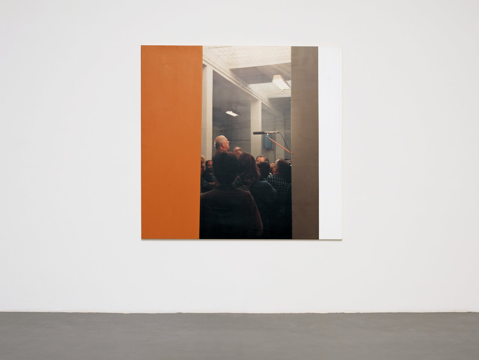 ​Ian Wallace, Emmett Williams Speaking at the Opening of the Artist's Museum Lodz, Poland, October 14 1990, 1990, photolaminate with acrylic on canvas, 59 x 62 in. (150 x 158 cm). Installation view, A Literature of Images, Witte de With, Rotterdam, 2008​ by Ian Wallace