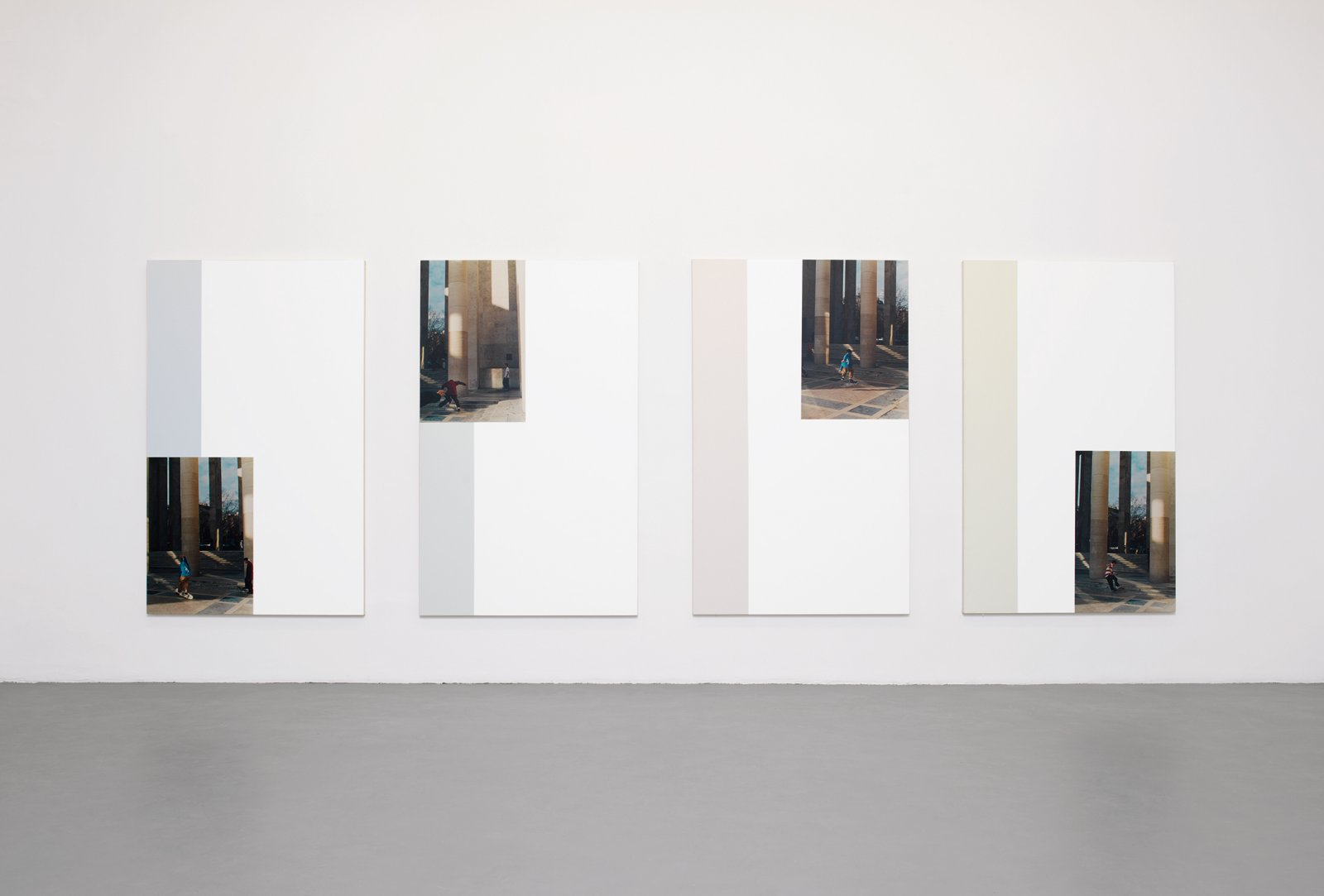 ​​​​​​Ian Wallace, ​Freeplay I–IV, 1996, photolaminate with acrylic on canvas, 78 x 48 in. (198 x 122 cm). Installation view, ​A Literature of Images​, Witte de With, Rotterdam, 2008​​​​​​​​​​​ by Ian Wallace
