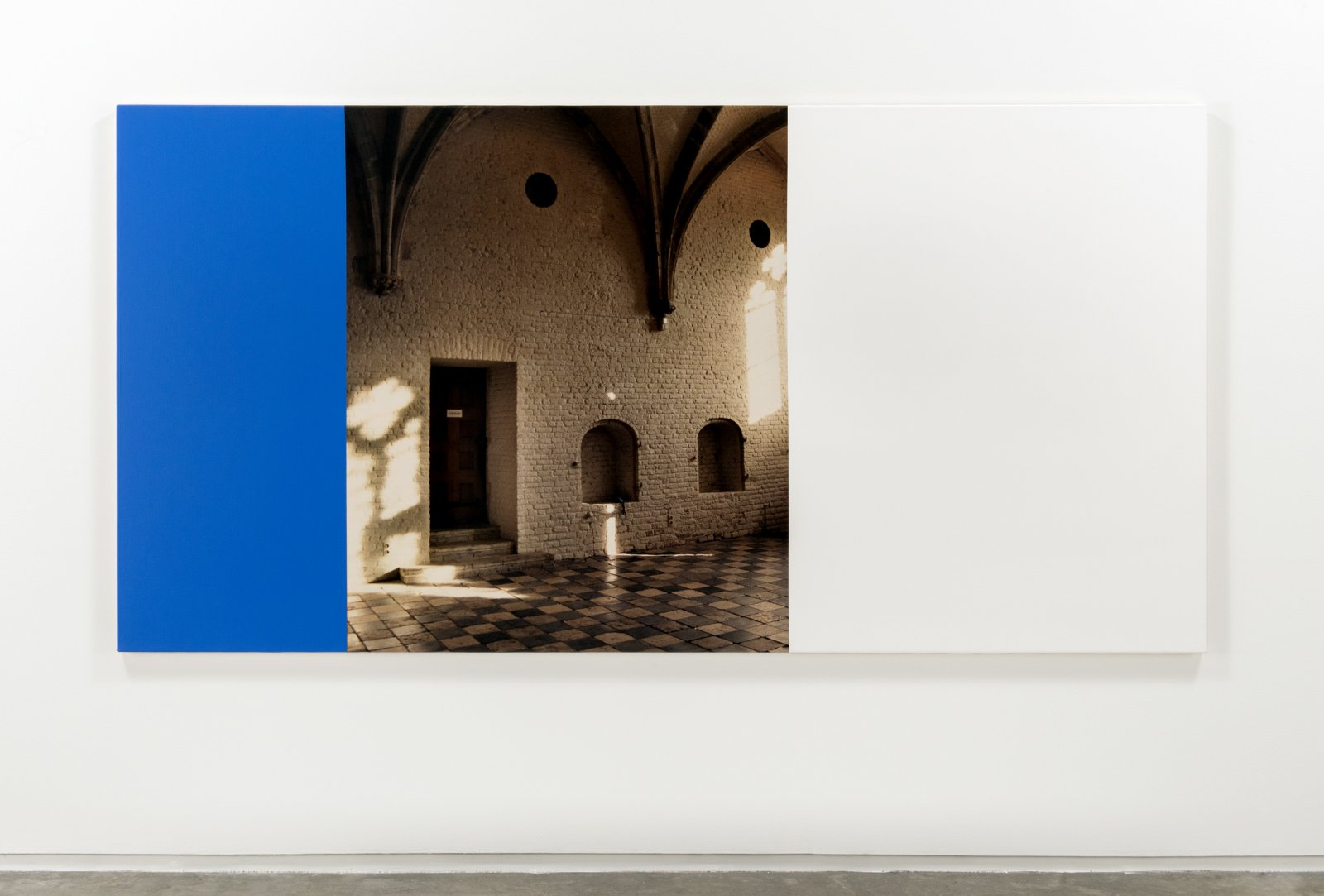 Ian Wallace,Hommage a MondrianI(The Vleeshal Middleburg), 1990, photolaminate and acrylic on canvas, 48 x 96 in. (122 x 244 cm)