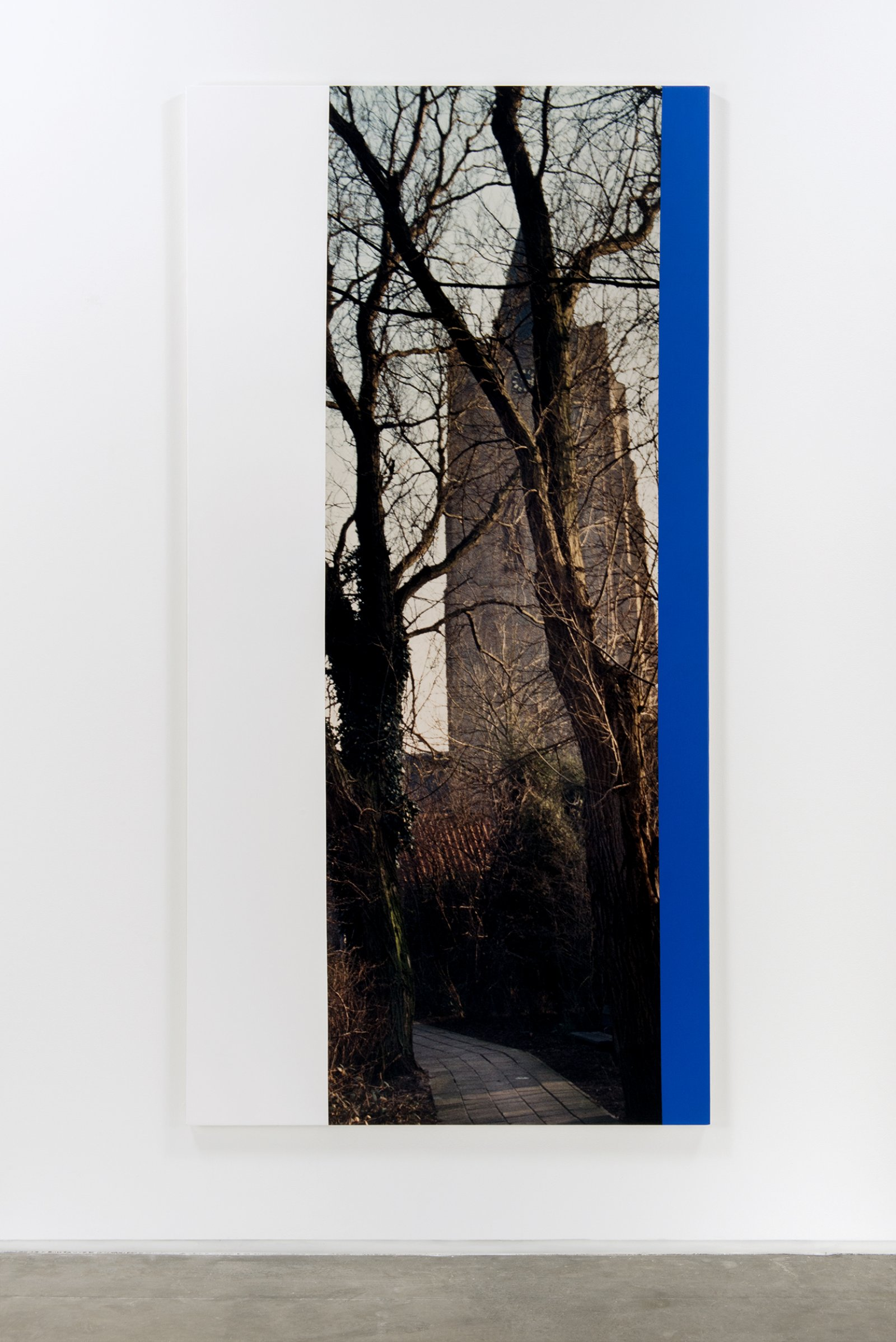 Ian Wallace,Hommage a Mondrian IV(Tower and Trees Middleburg), 1990, photolaminate and acrylic on canvas, 96 x 48 in. (244 x 122 cm)