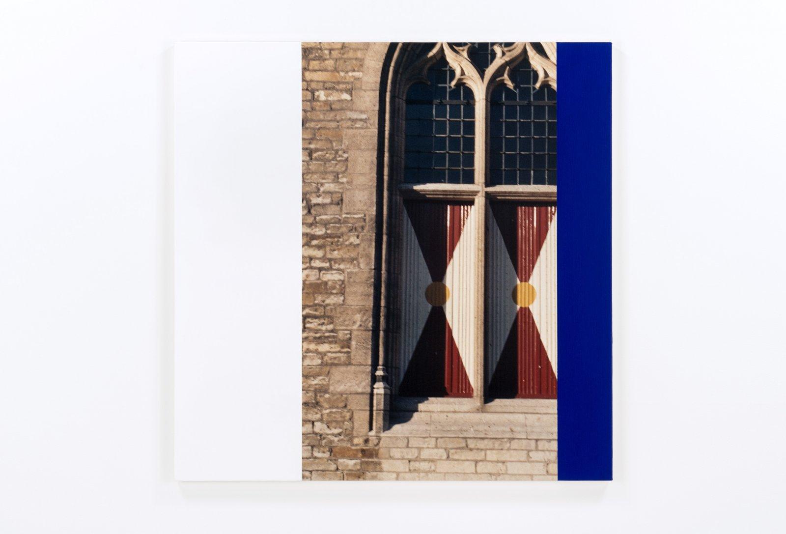 Ian Wallace,Hommage a Mondrian IX(Windows), 1990, photolaminate and acrylic on canvas, 48 x 48 in. (122 x 122 cm)