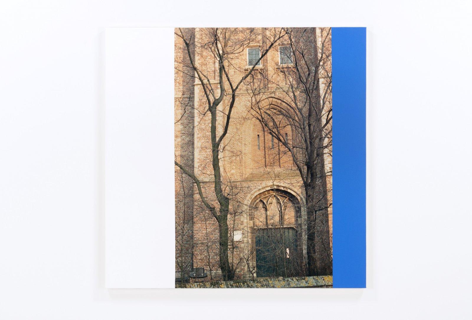 Ian Wallace,Hommage a Mondrian VII(Facade), 1990, photolaminate and acrylic on canvas, 48 x 48 in. (122 x 122 cm)
