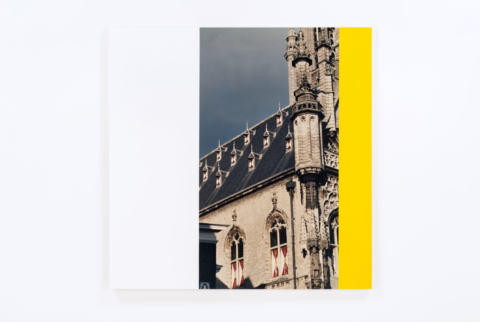 Ian Wallace,Hommage a Mondrian X(City Hall Tower, Middleburg), 1990, photolaminate and acrylic on canvas, 48 x 48 in. (122 x 122 cm)