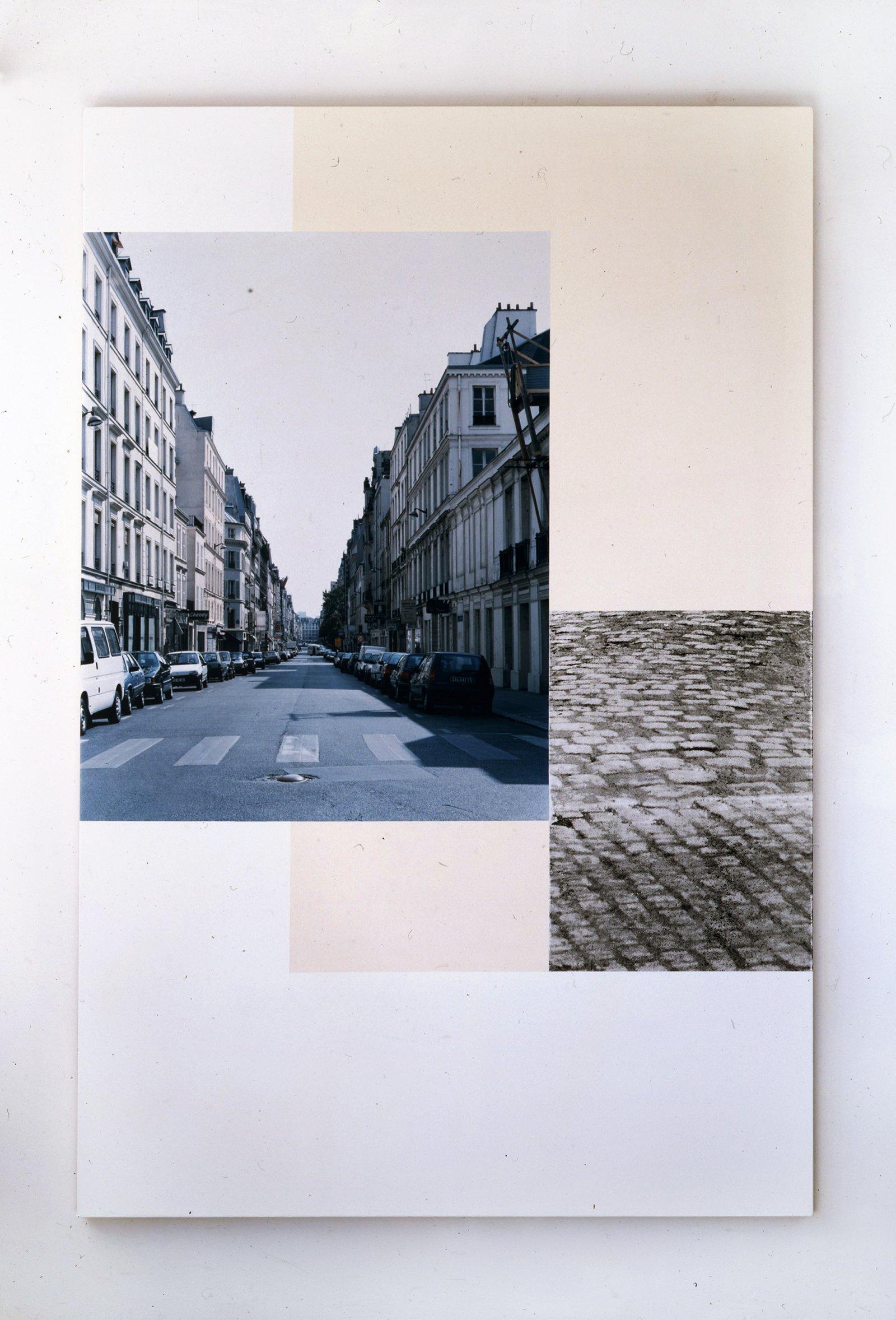 Ian Wallace, Rue Turenne, Paris, 1997, photolaminate, acrylic and silkscreen on canvas, 90 x 60 in. (229 x 152 cm)