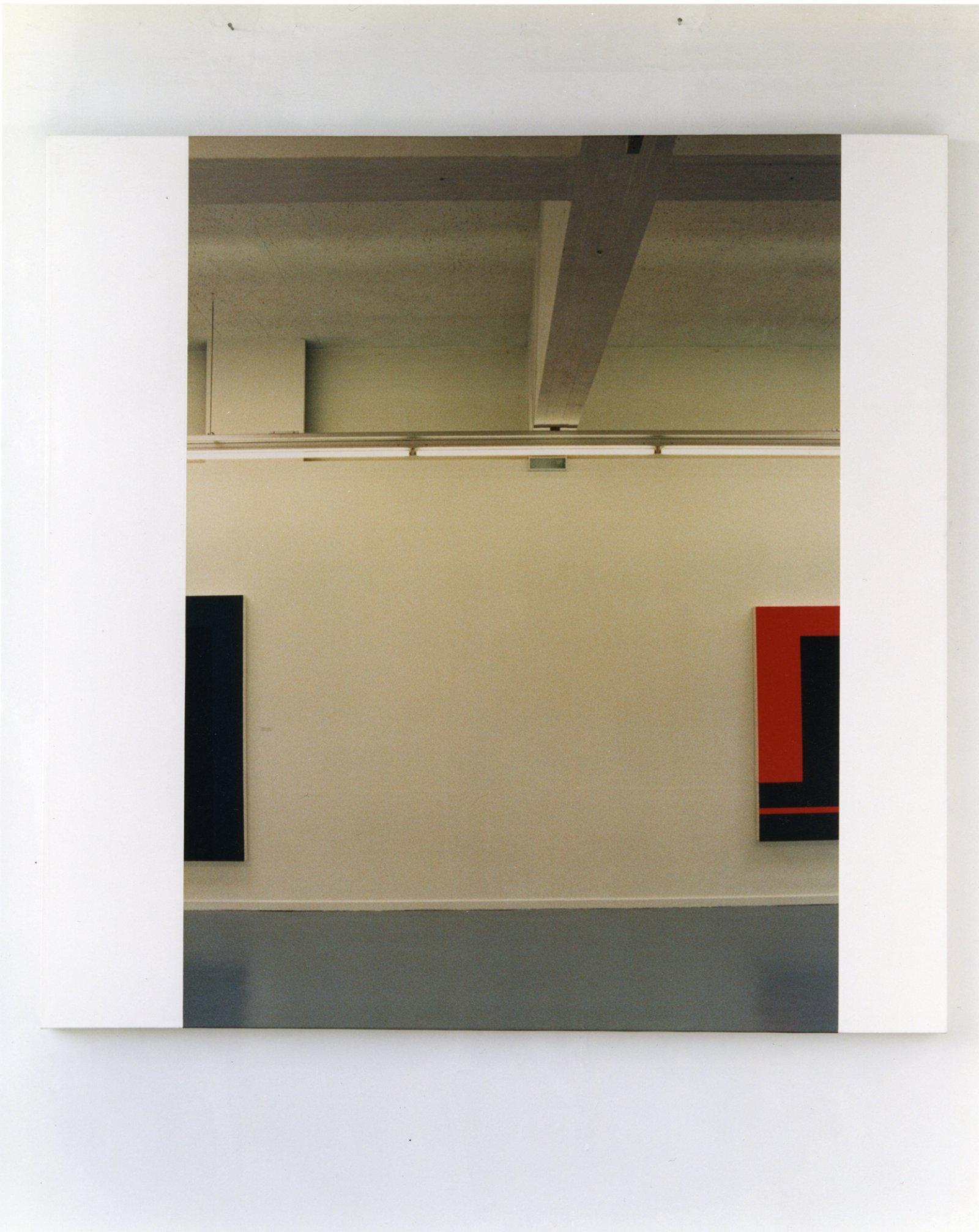 Ian Wallace,In The Museum (Peter Halley Series III), 1989, photolaminate and acrylic on canvas, 60 x 60 in. (153 x 153 cm)