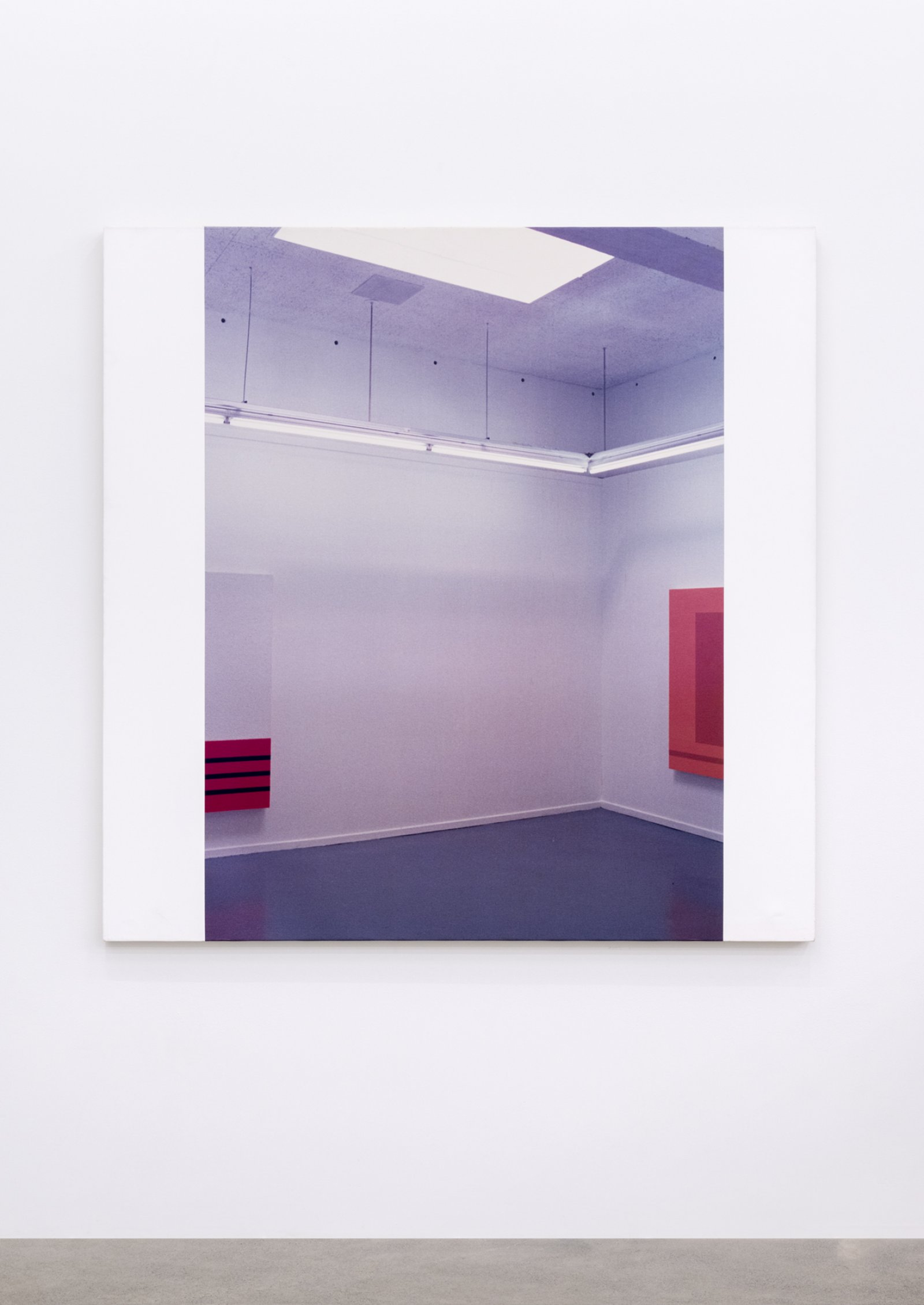 Ian Wallace, In The Museum (Peter Halley Series II), 1989, photolaminate and acrylic on canvas, 60 x 60 in. (153 x 153 cm) by Ian Wallace