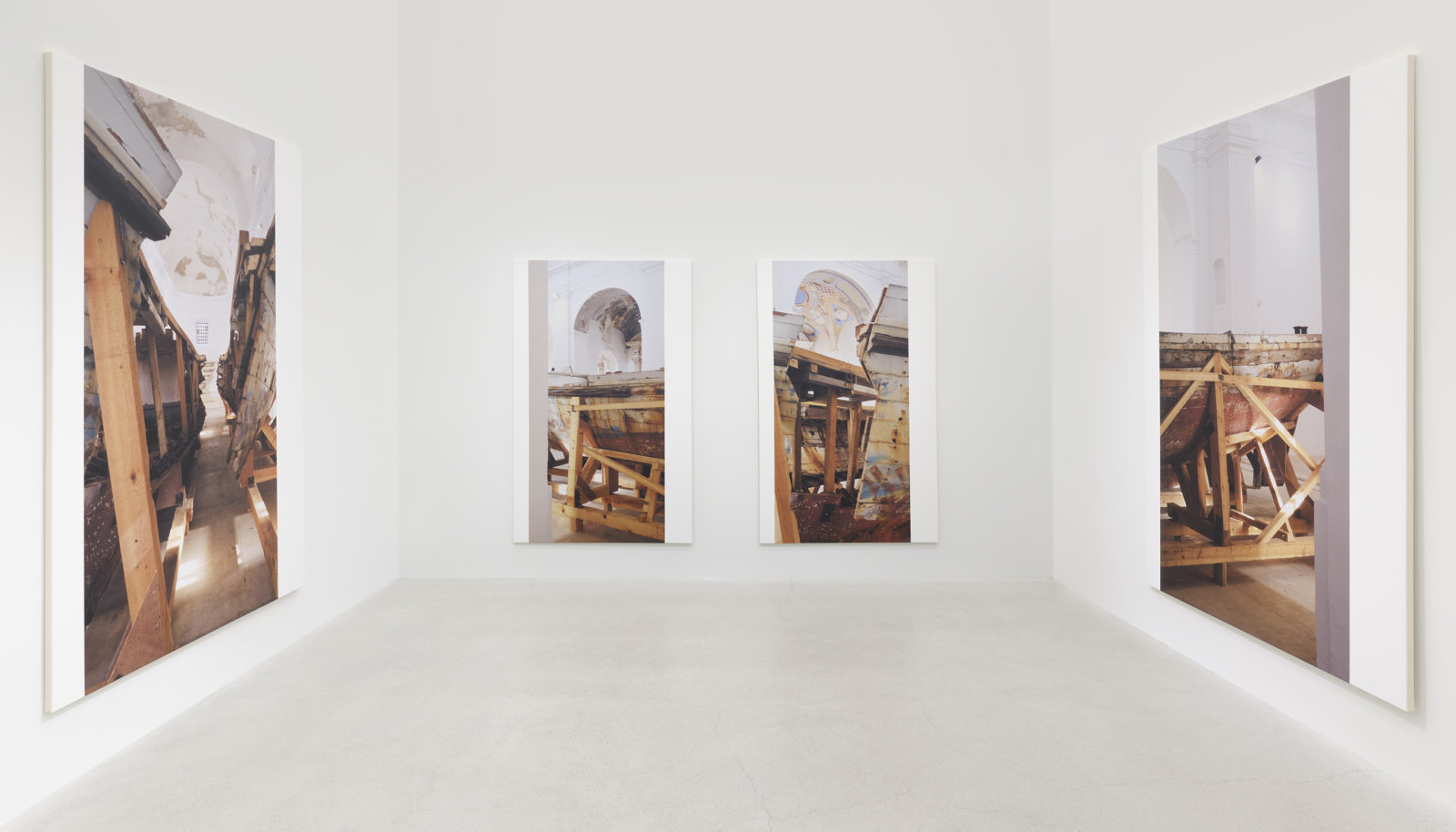 Ian Wallace, Shipwreck (After Naufragio con Spettatore by Claudio Parmiggiani) I–IV, 2010, photolaminate with acrylic on canvas, 4 parts, each 96 x 60 in. (244 x 152 cm) by Ian Wallace