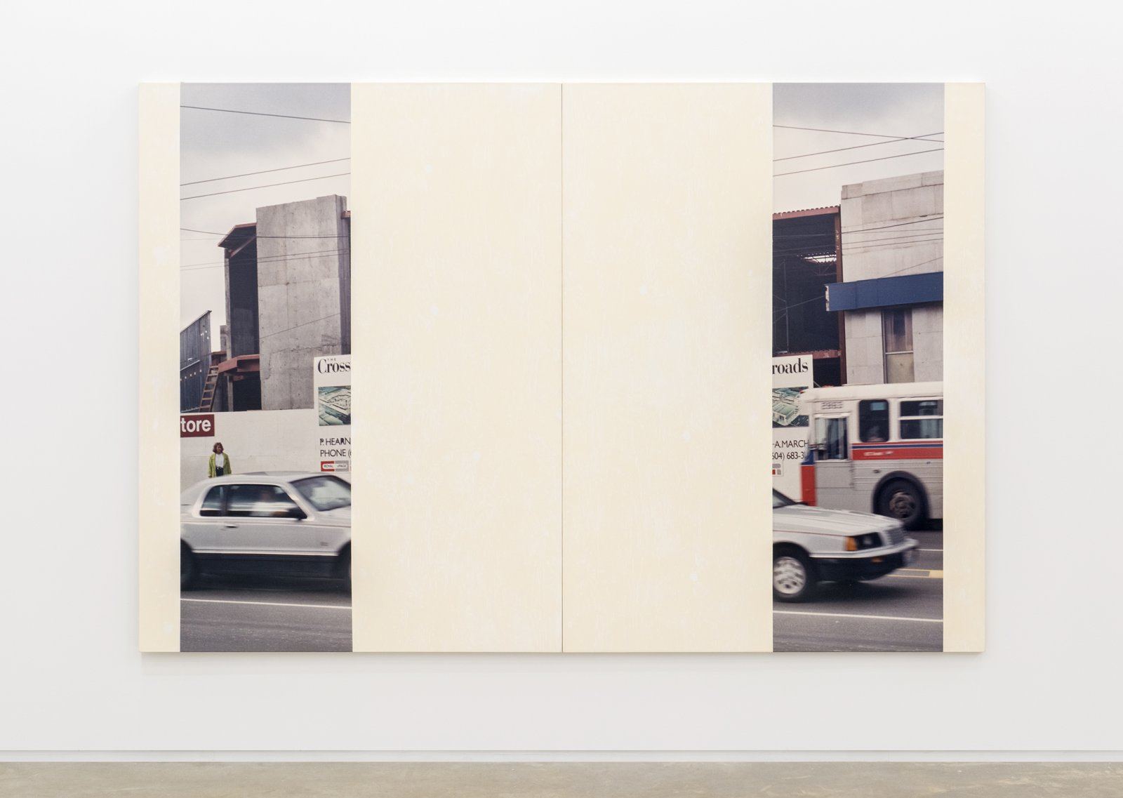 Ian Wallace, In the Street (Cologne Series IV), 1989, diptych, photolaminate with acrylic and monoprint on canvas, each panel: 80 x 60 in. (203 x 152 cm) by Ian Wallace