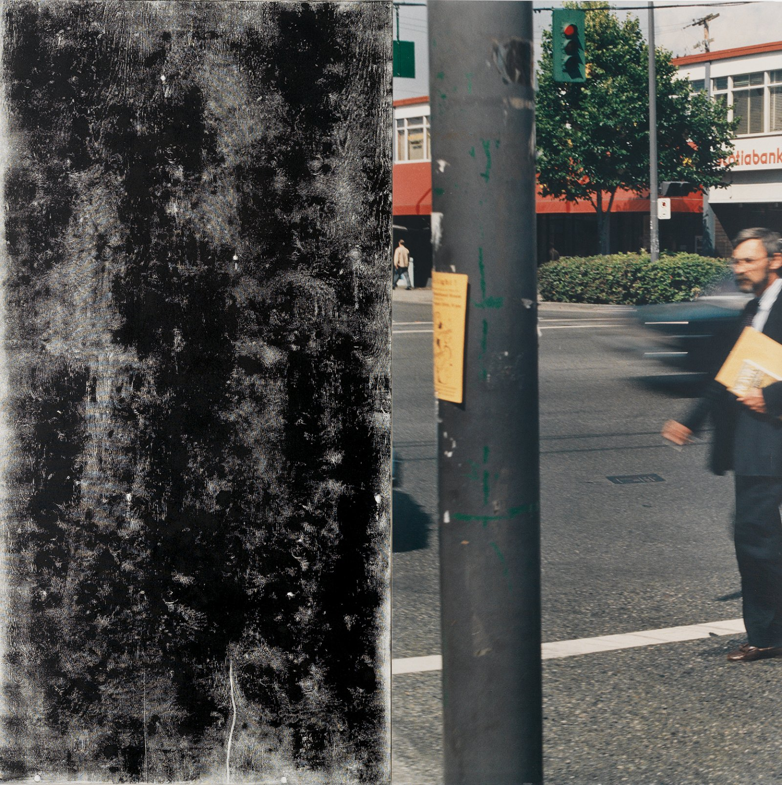 Ian Wallace, In the Street (George), 1989, photolaminate with acrylic and ink monoprint on canvas, diptych, 96 x 96 in. (244 x 244 cm). Installation view, A Literature of Images, Kunsthalle Zürich, 2008 by Ian Wallace